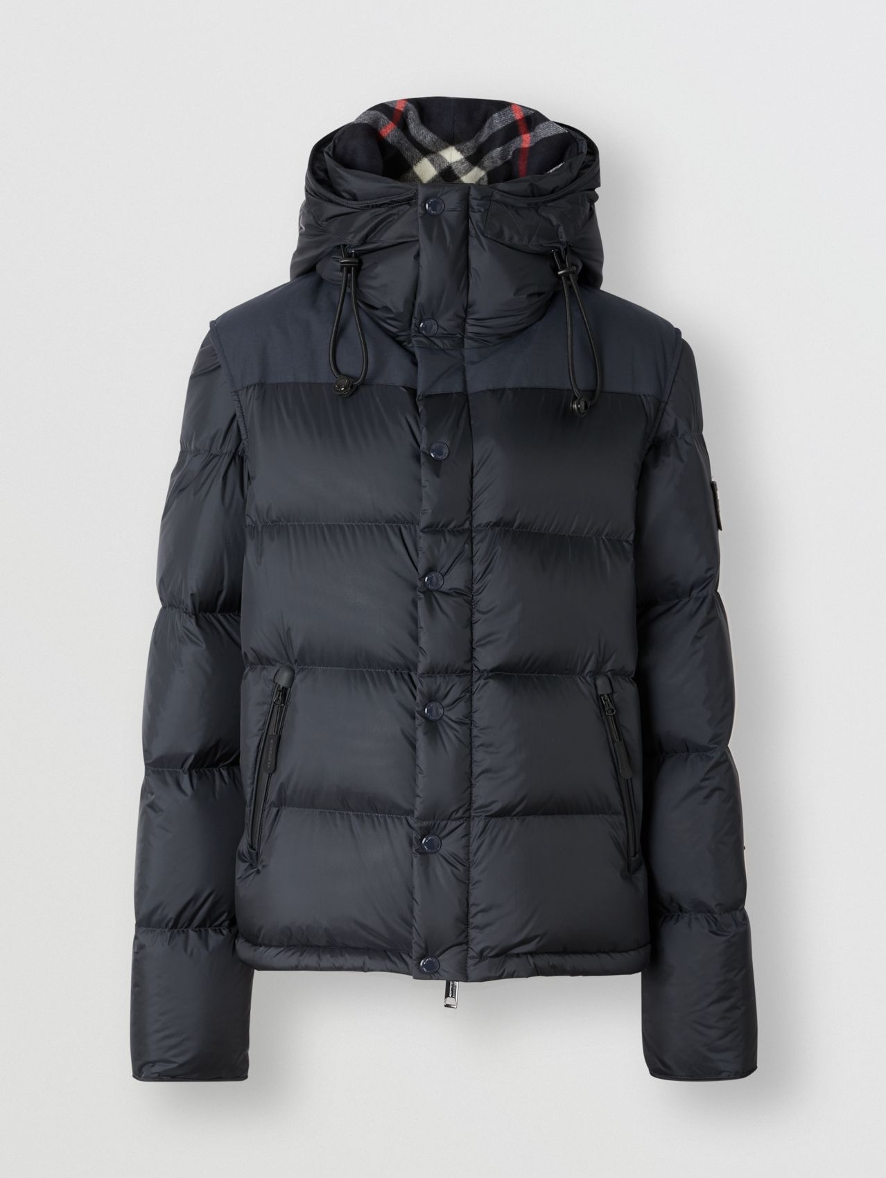 Detachable Sleeve Hooded Puffer Jacket in Navy