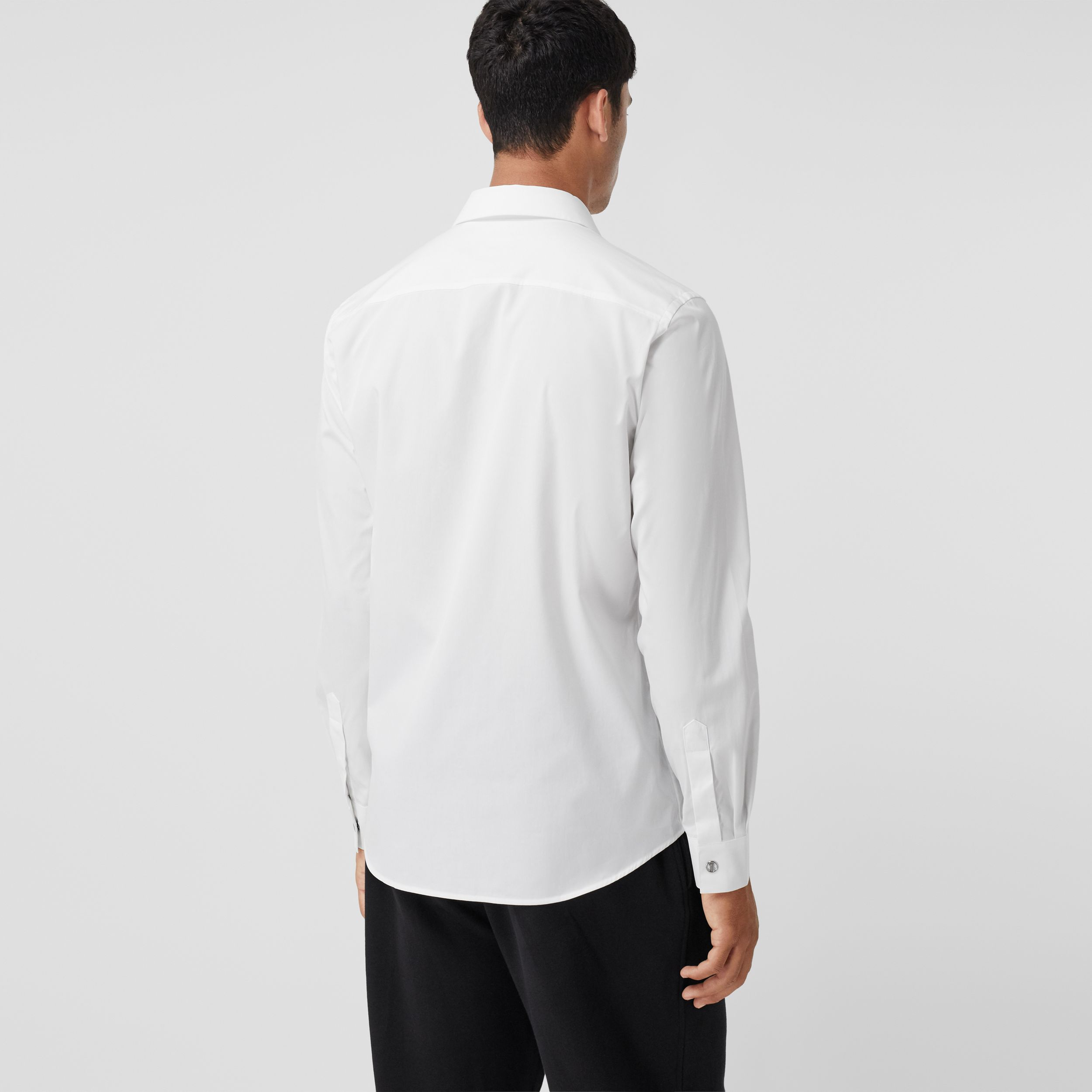 Monogram Motif Stretch Cotton Shirt in White - Men | Burberry - 3