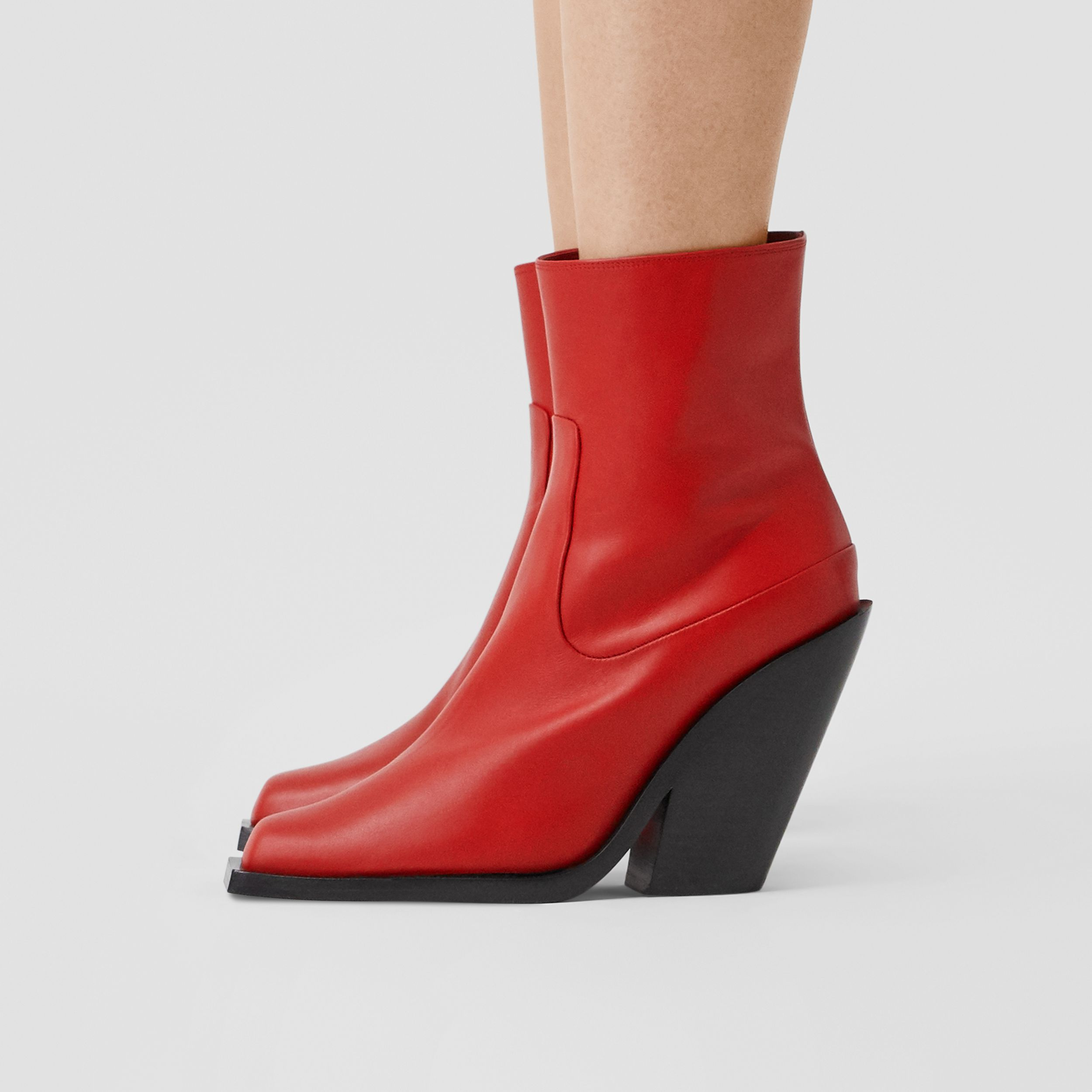 Leather Block-heel Ankle Boots in Bright Red - Women | Burberry - 3