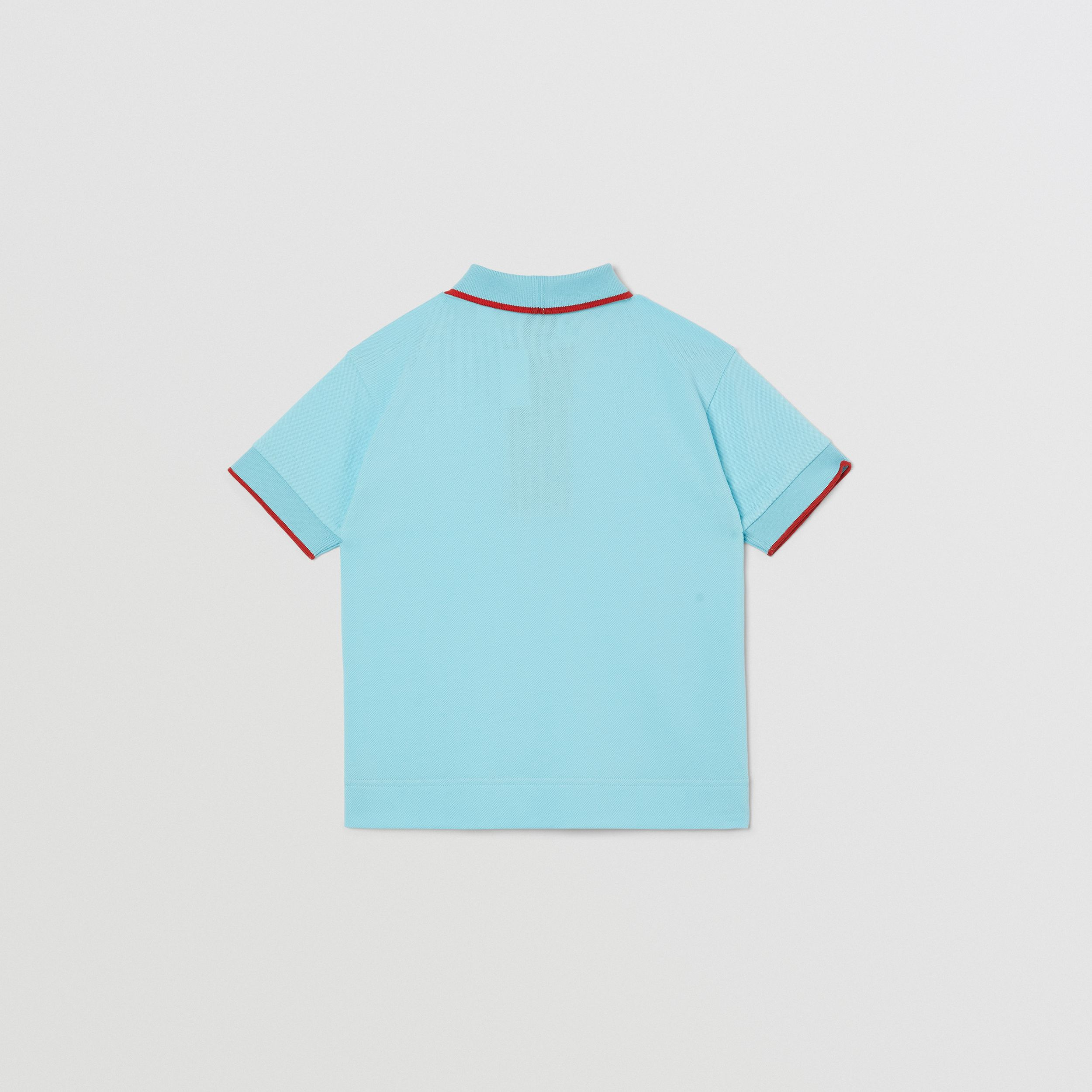 Icon Stripe Detail Cotton Zip-front Polo Shirt in Pale Turquoise | Burberry - 4