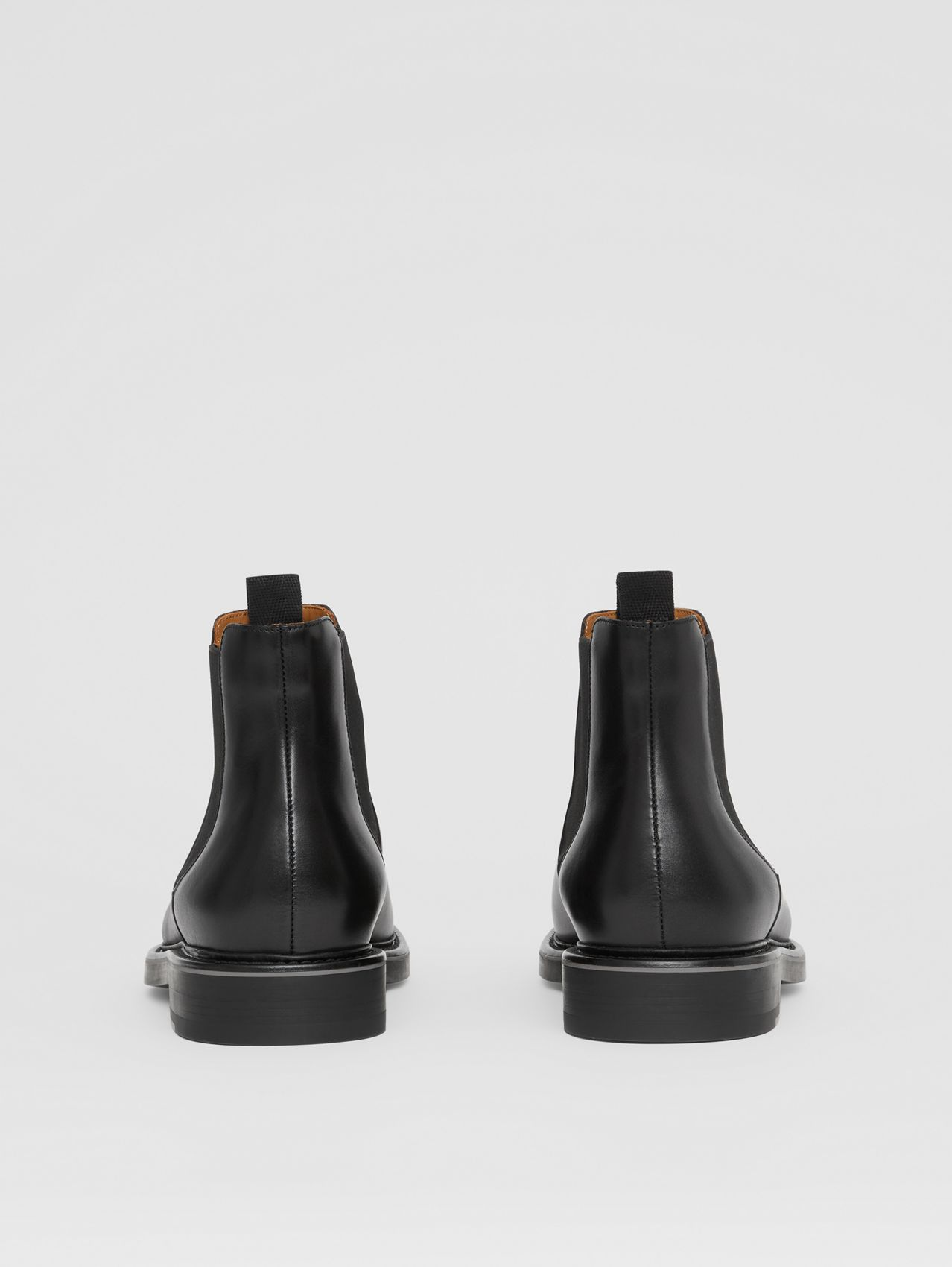 Logo Detail Leather Chelsea Boots in Black
