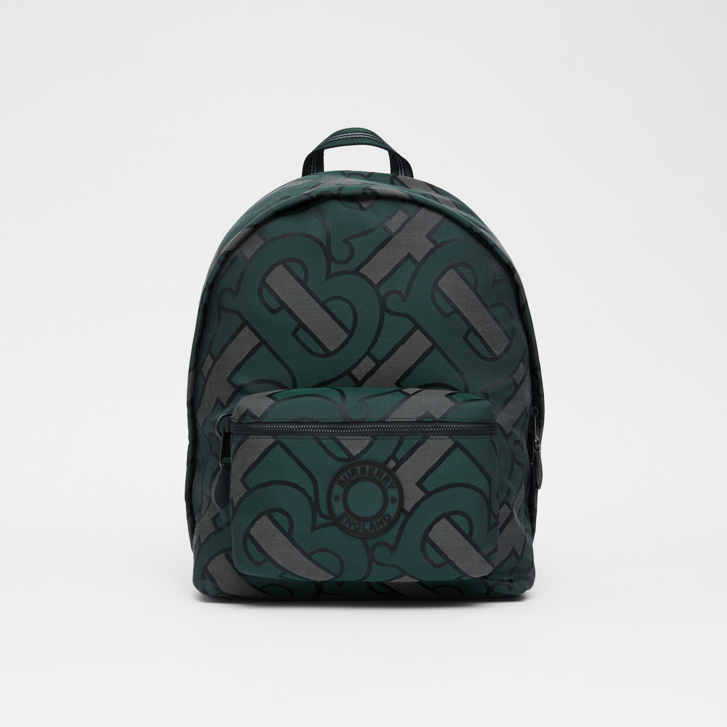 Monogram Recycled Polyester Jacquard Backpack in Forest Green - Men | Burberry - 1