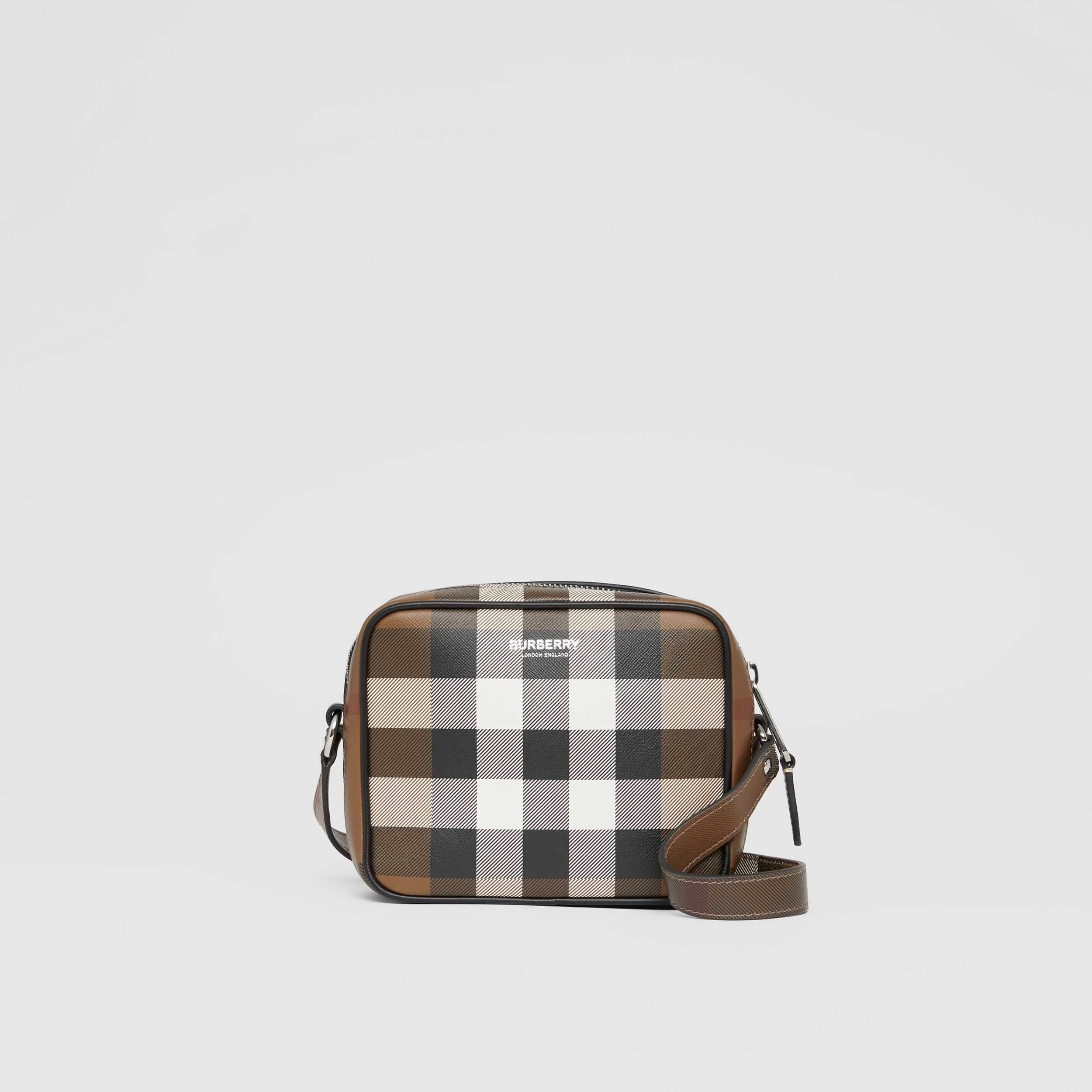 Check Print Leather Crossbody Bag in Dark Birch Brown | Burberry - 1