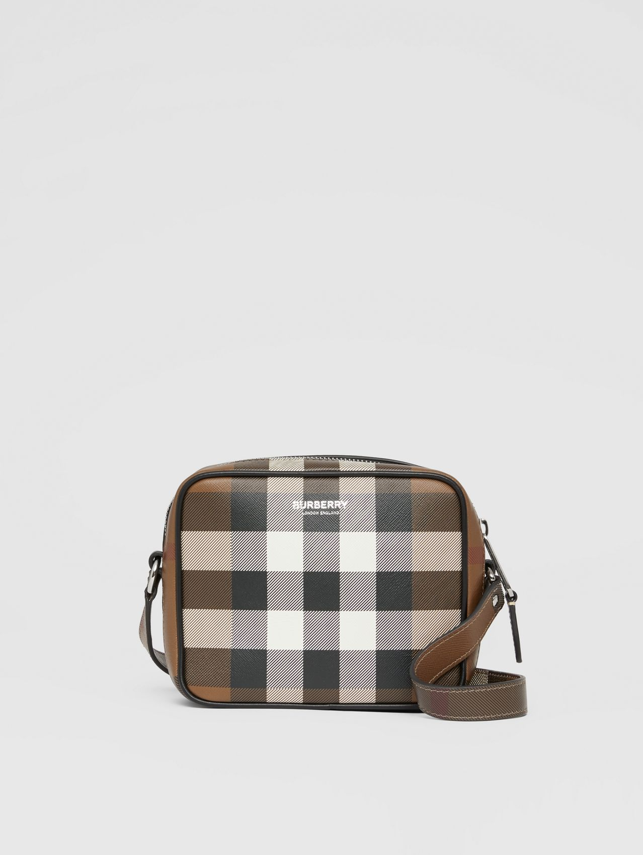 Check Print Leather Crossbody Bag in Dark Birch Brown