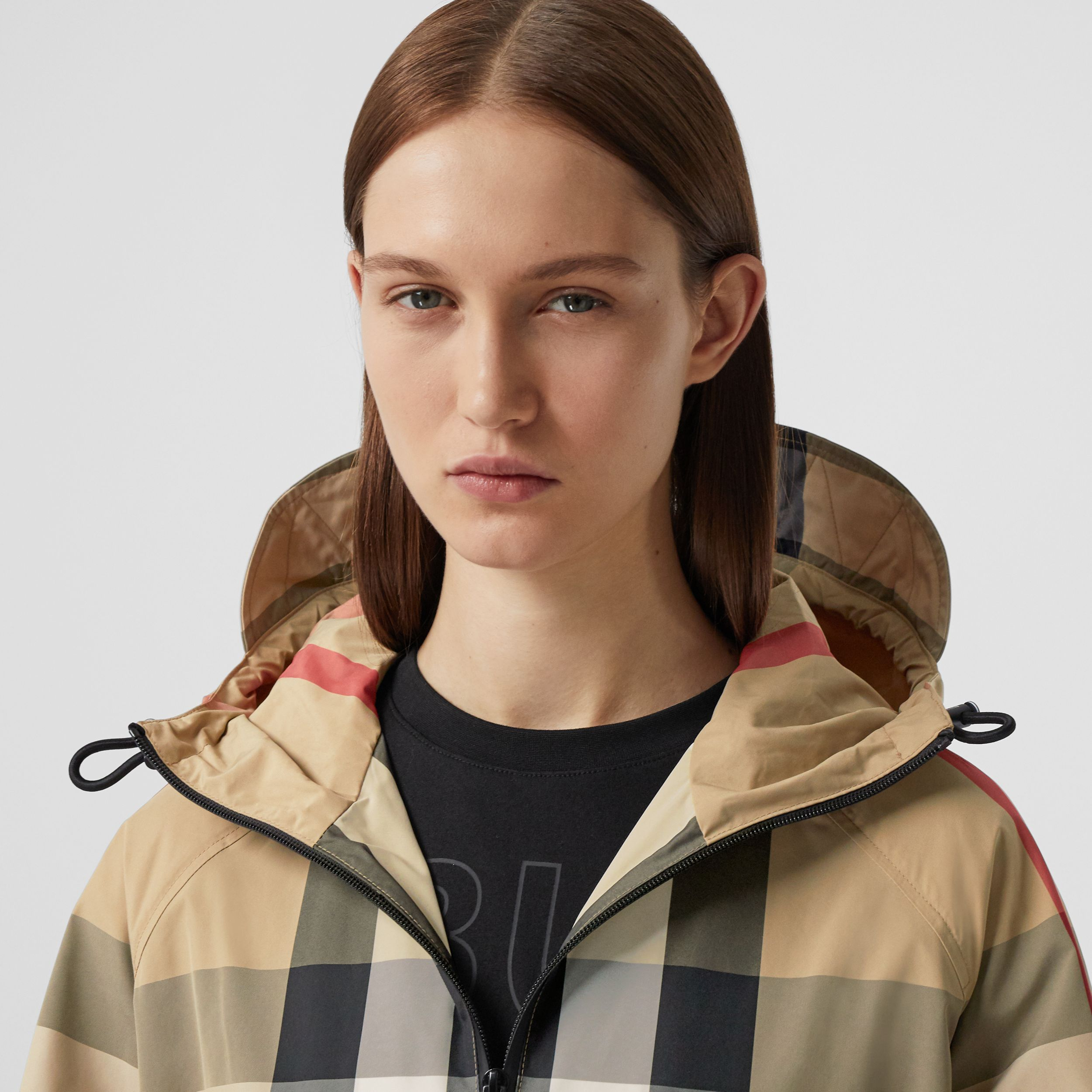Check Recycled Nylon Hooded Jacket in Archive Beige - Women | Burberry - 2