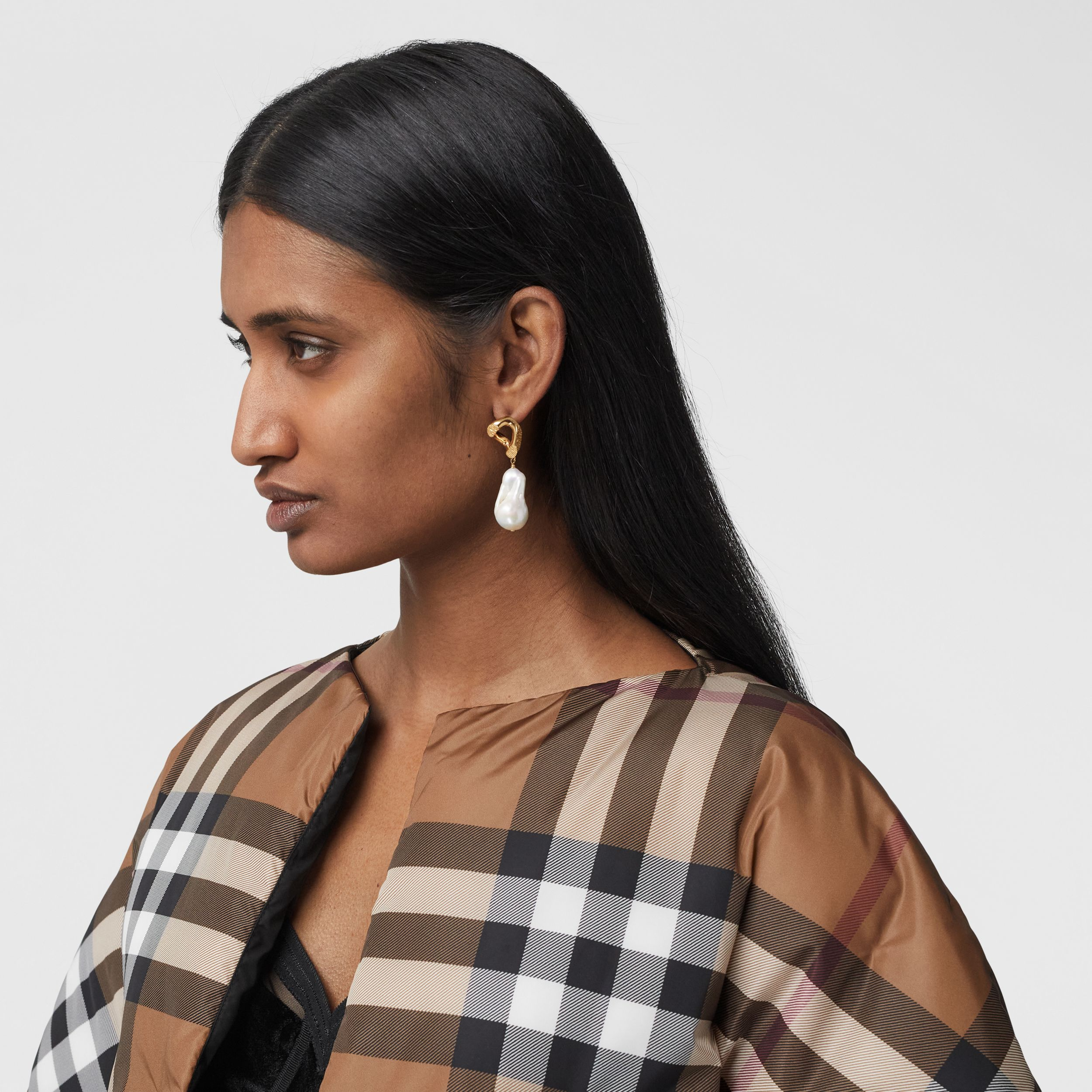 Check Print ECONYL® Cape in Birch Brown - Women | Burberry - 2
