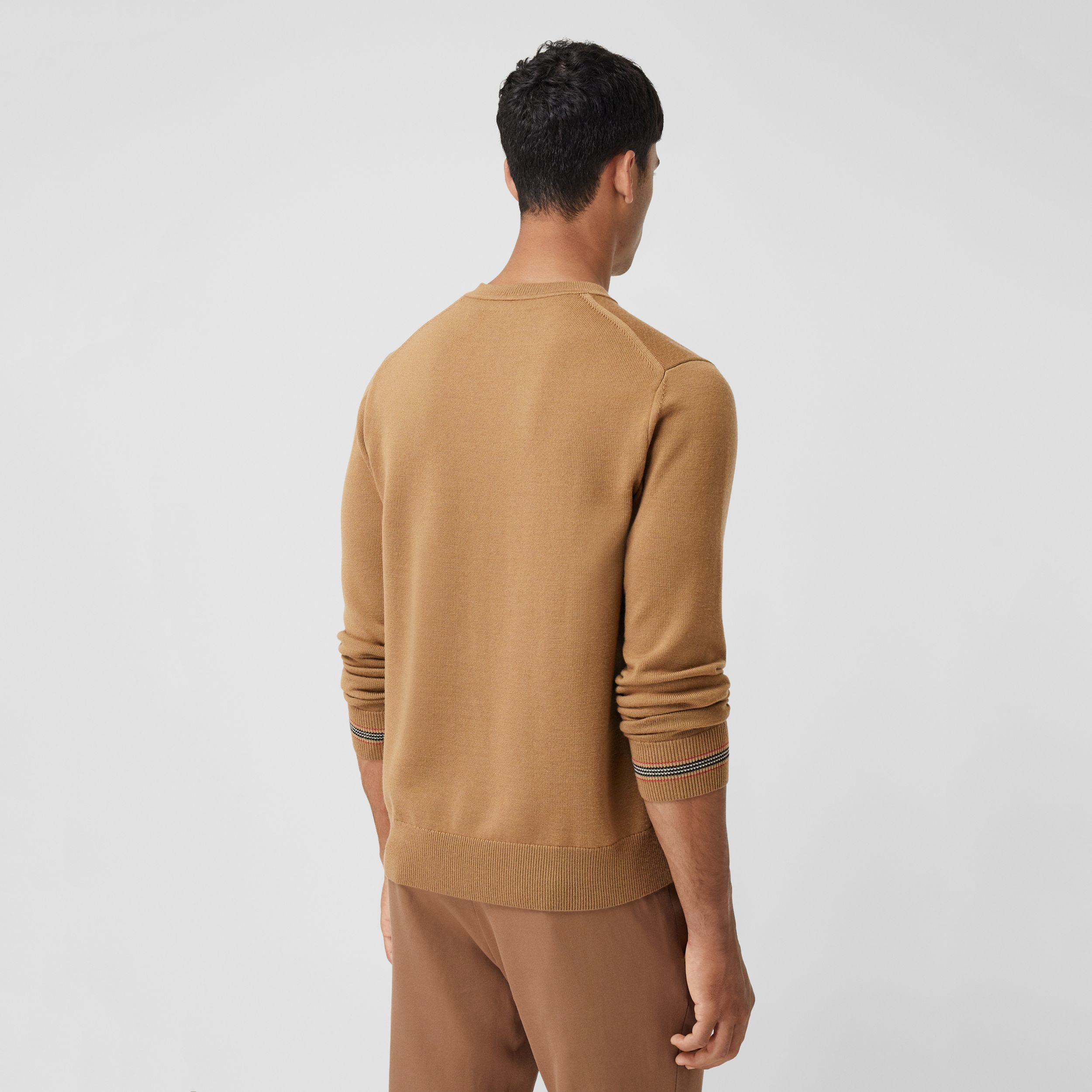 Icon Stripe Trim Merino Wool Sweater in Camel - Men | Burberry - 3