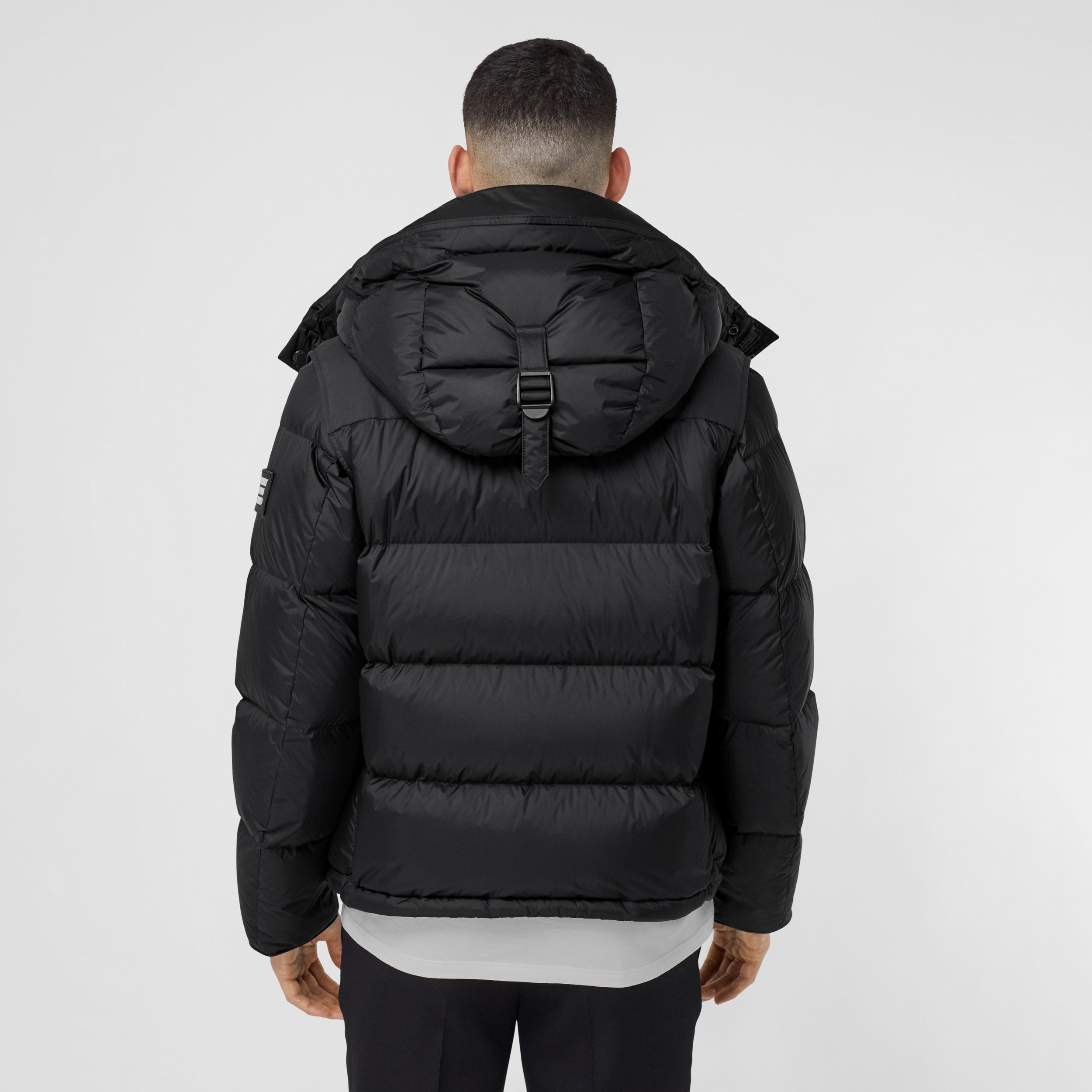 Detachable Sleeve Hooded Puffer Jacket in Black - Men | Burberry United Kingdom - 3