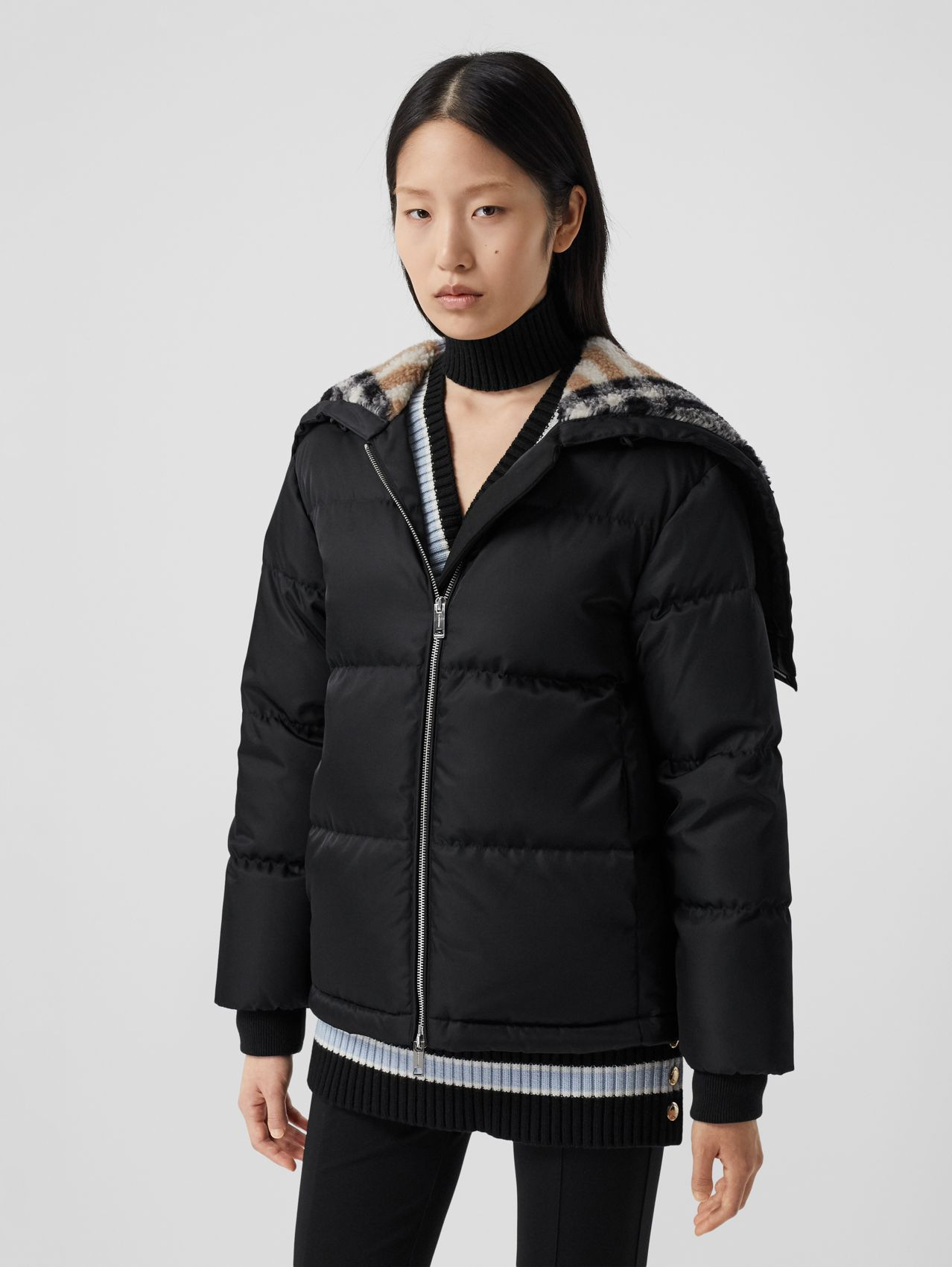 Check Fleece-lined Hood ECONYL® Puffer Jacket in Black
