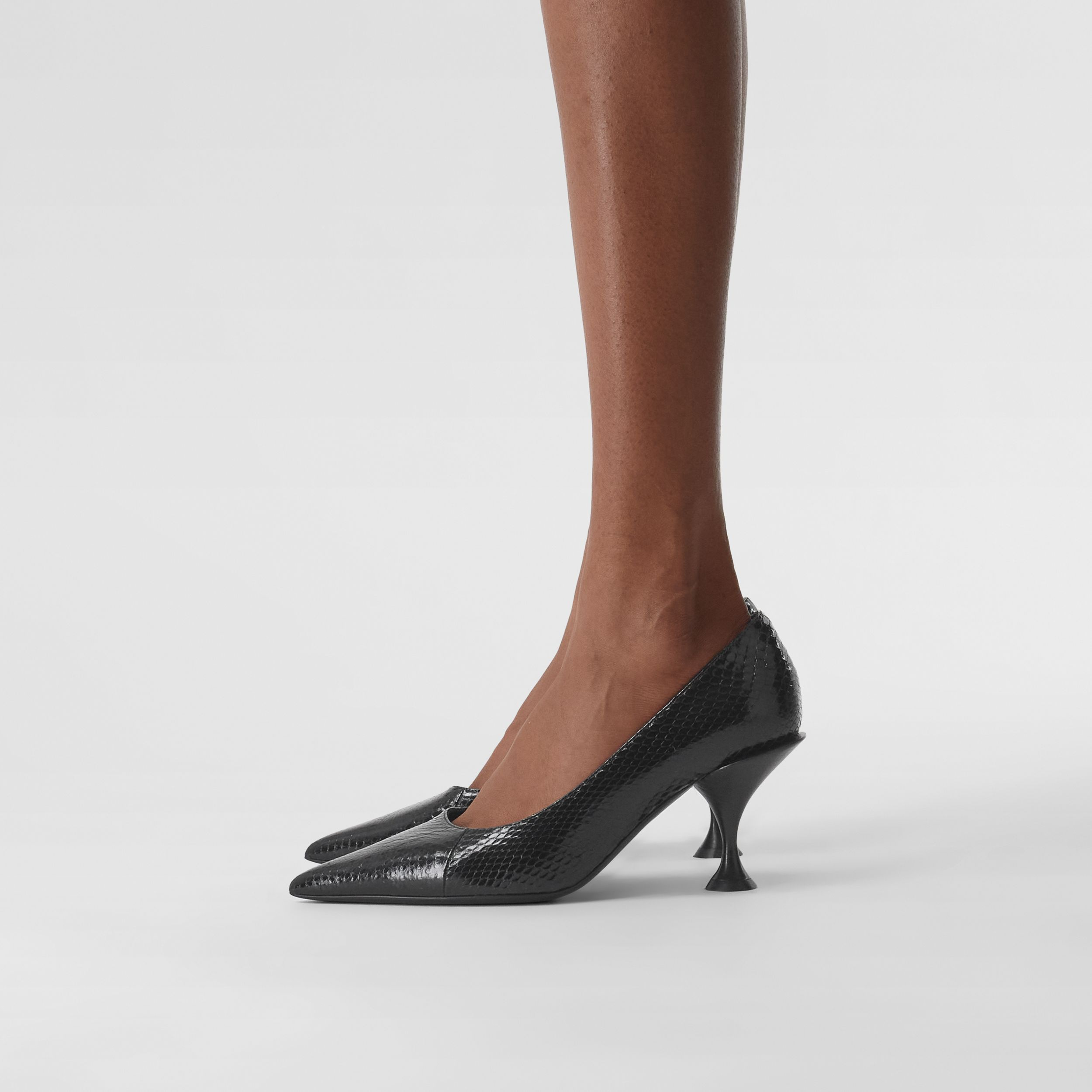Snakeskin Point-toe Pumps in Black - Women | Burberry - 3