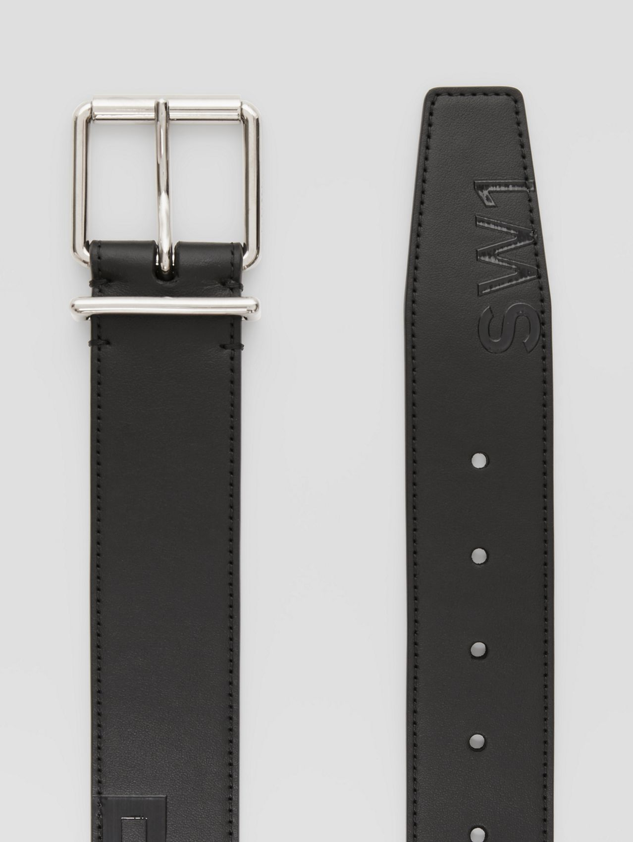 Horseferry Print Leather Belt in Black