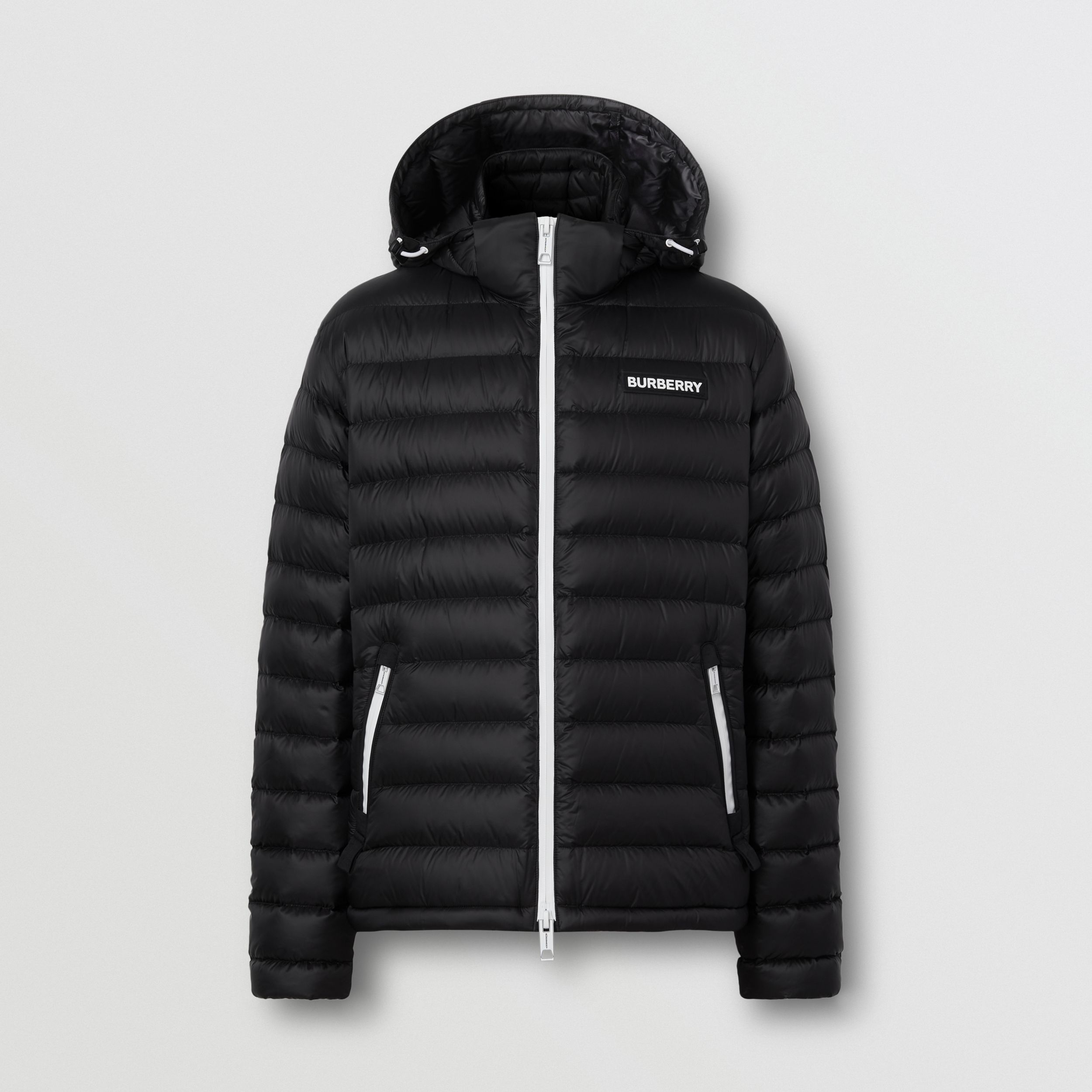 Detachable Hood Logo Appliqué Puffer Jacket in Black - Men | Burberry - 4