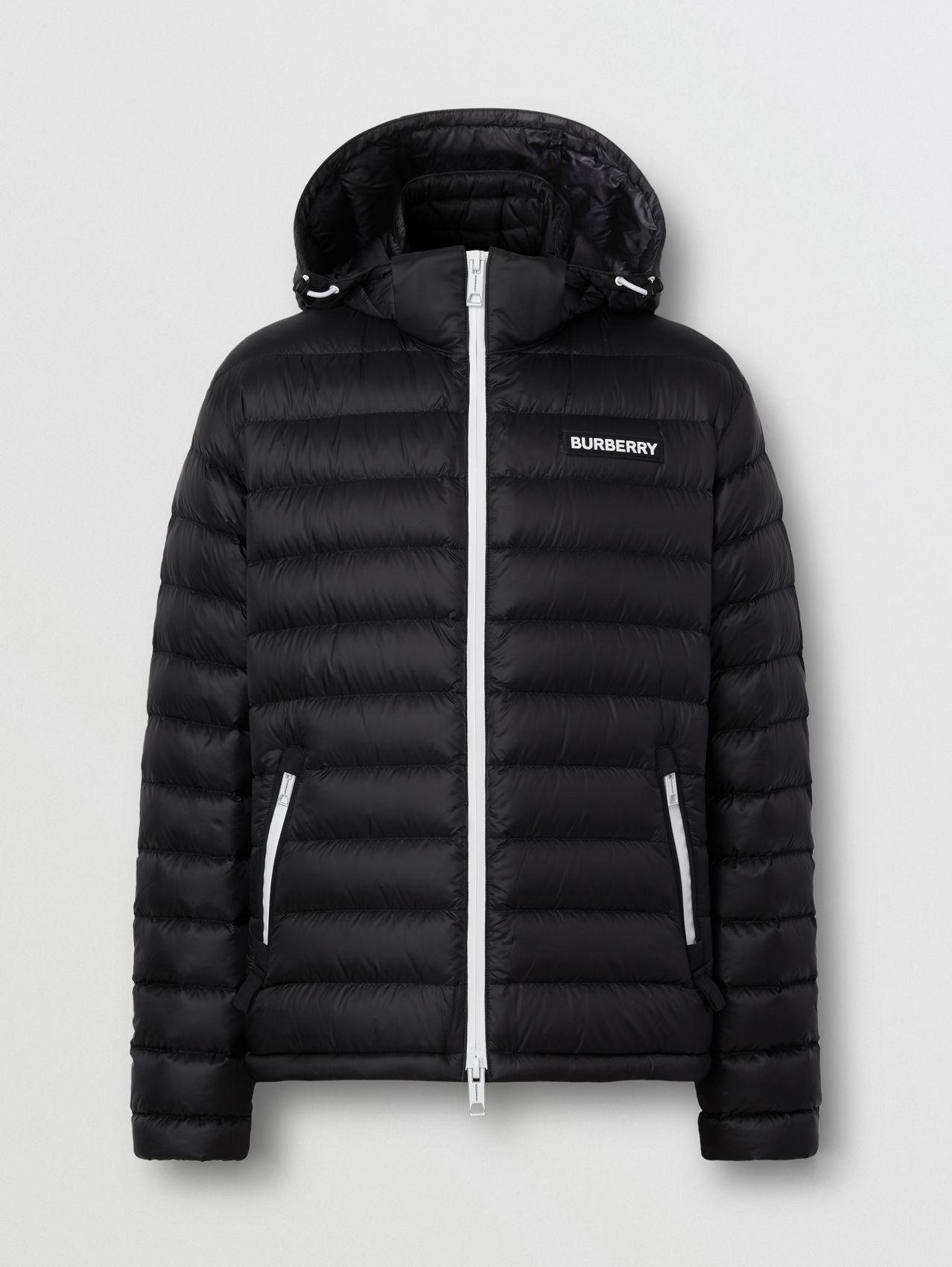 Detachable Hood Logo Appliqué Puffer Jacket (Black)