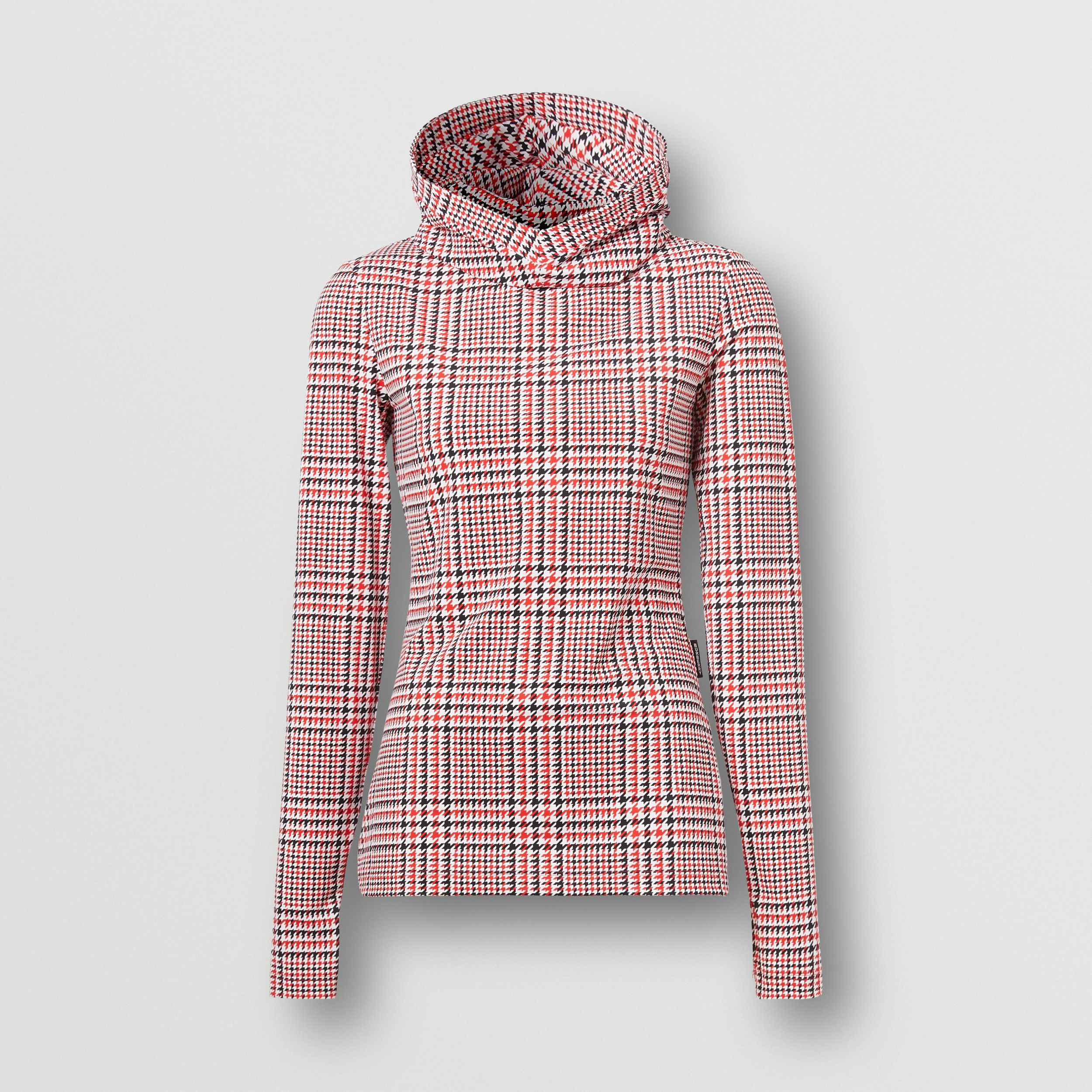 Houndstooth Check Print Stretch Jersey Hooded Top in Bright Red - Women | Burberry - 4