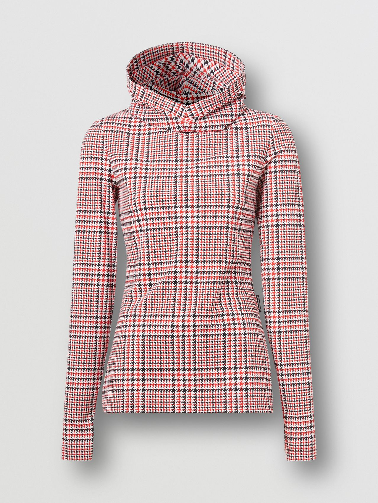 Houndstooth Check Print Stretch Jersey Hooded Top in Bright Red