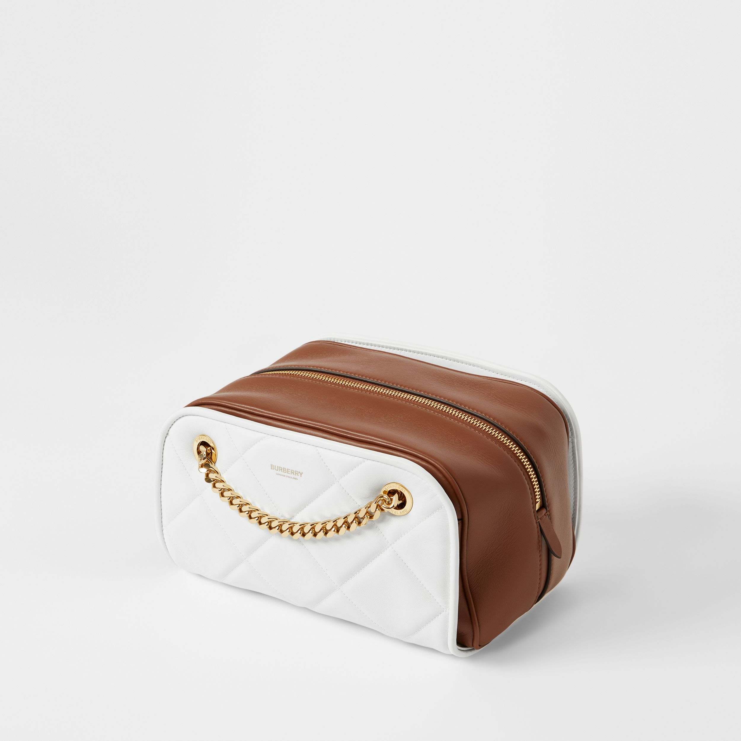 Small Two-tone Lambskin Double Cube Bag in White/tan - Women | Burberry - 4