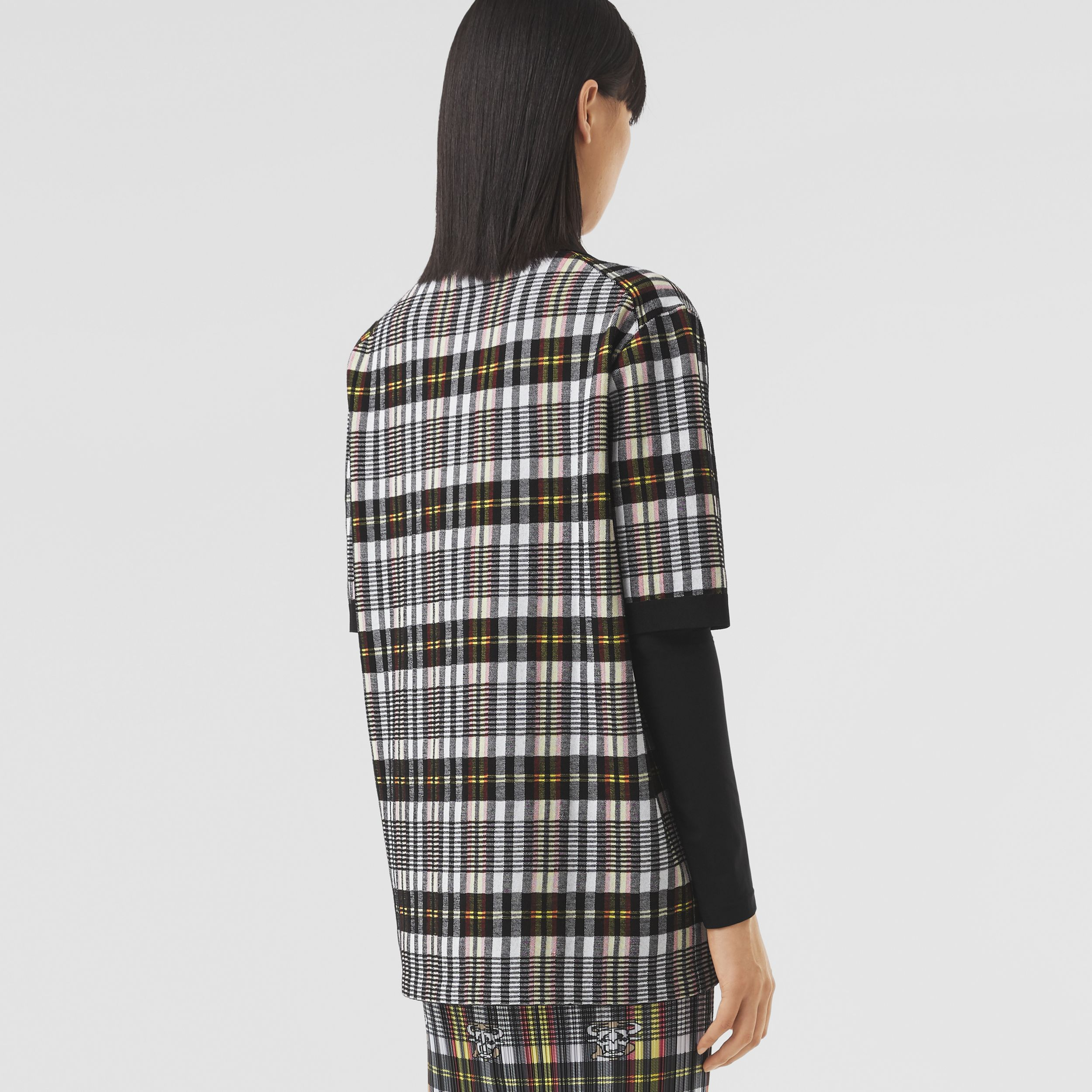 Monogram Motif Check Oversized Polo Shirt in Marigold Yellow - Women | Burberry - 3