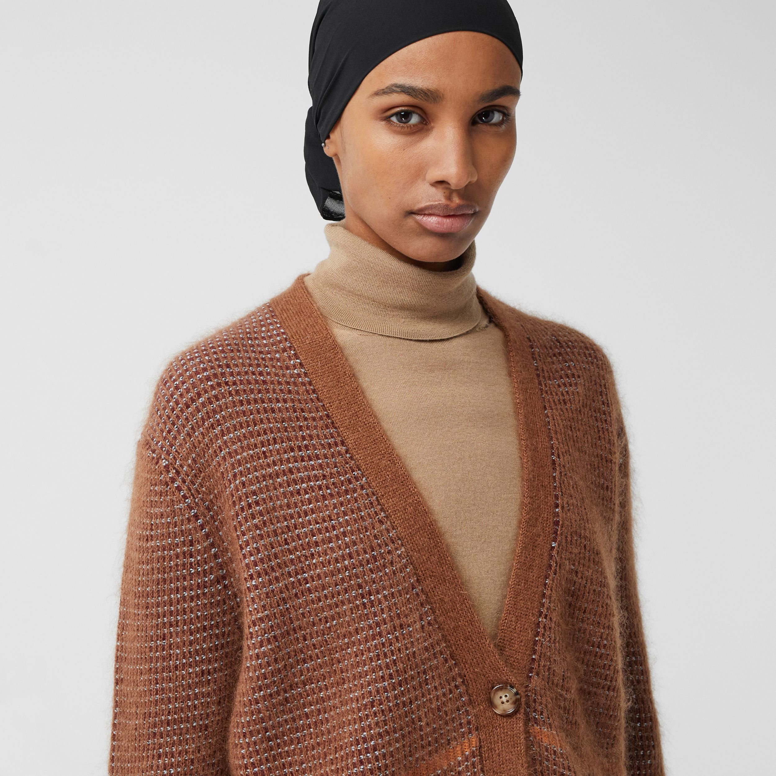 Check Wool Mohair Silk Blend Cardigan in Chestnut - Women | Burberry - 2