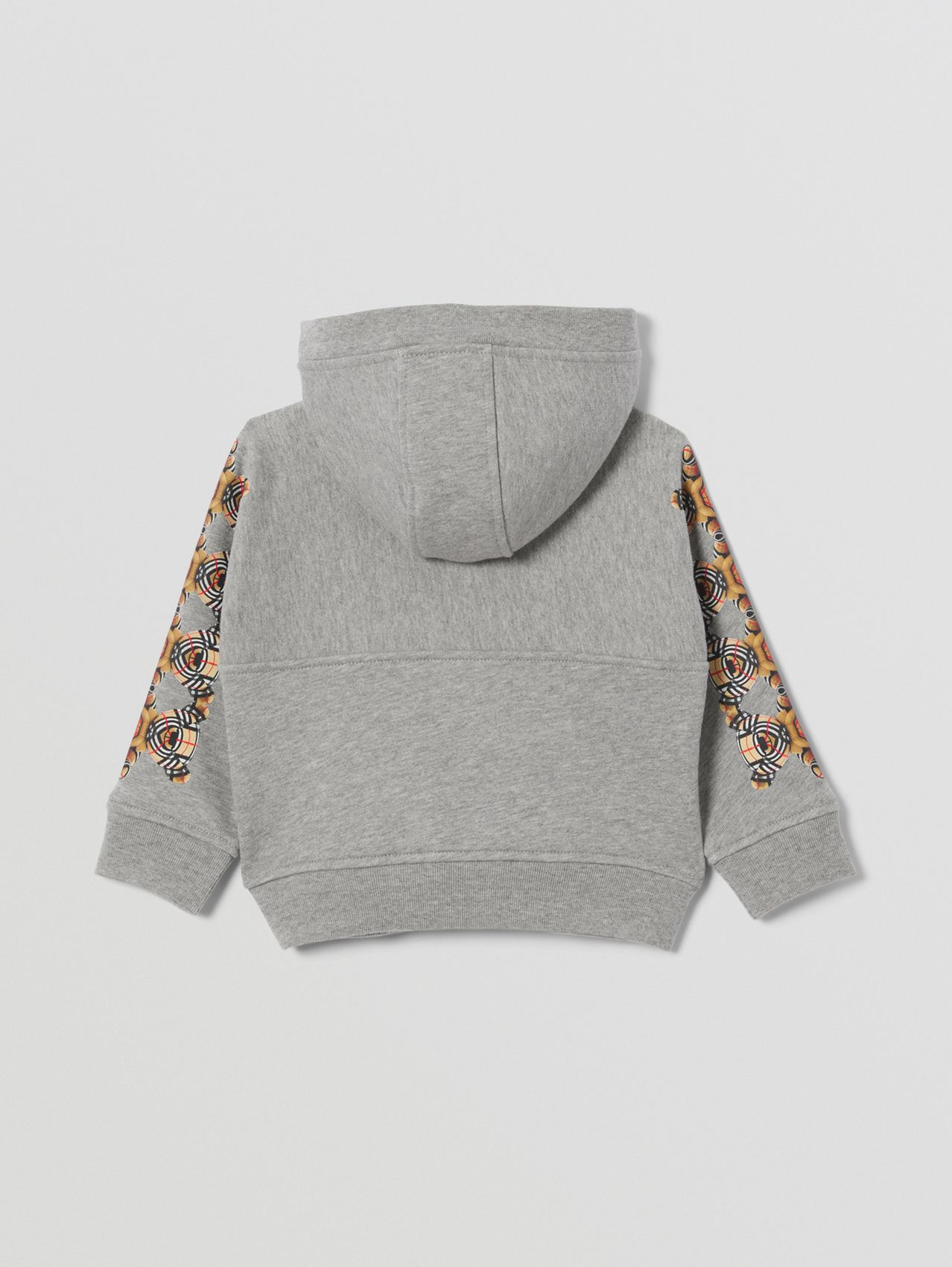 Thomas Bear Print Cotton Hooded Top in Grey Melange