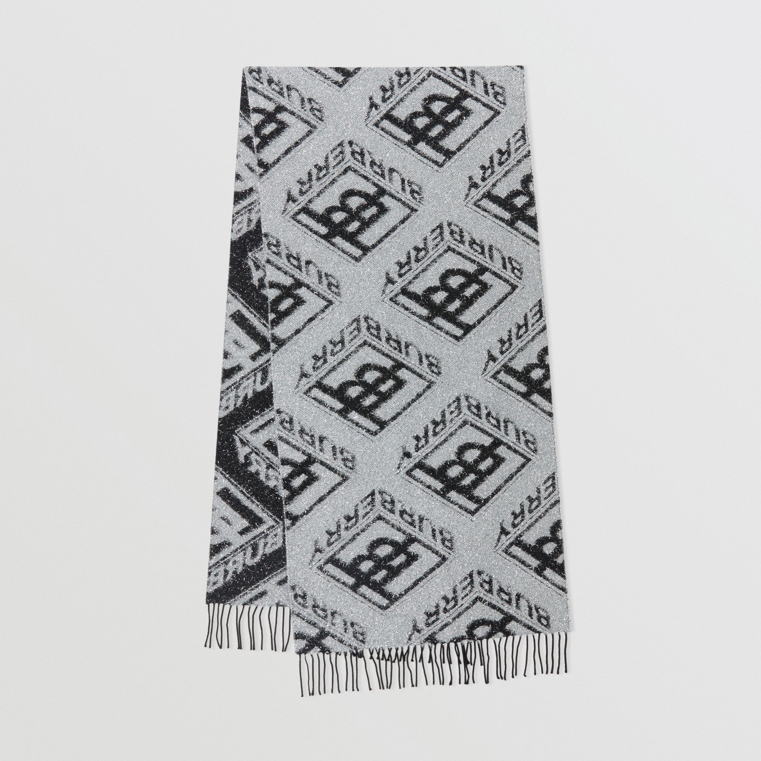 Metallic Monogram Wool Blend Scarf in Black | Burberry - 1
