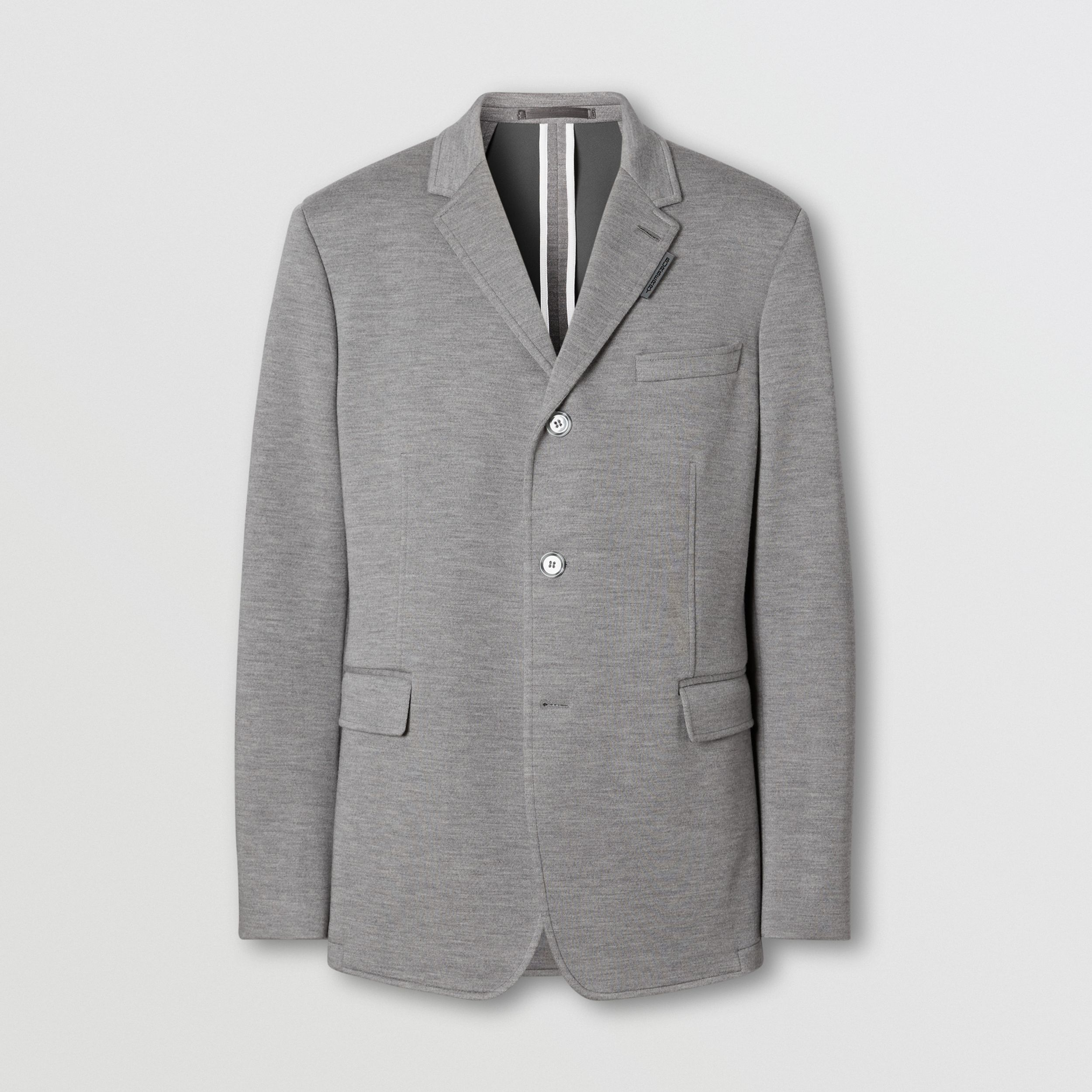 Relaxed Fit Wool Jersey Tailored Jacket in Cloud Grey - Men | Burberry - 1