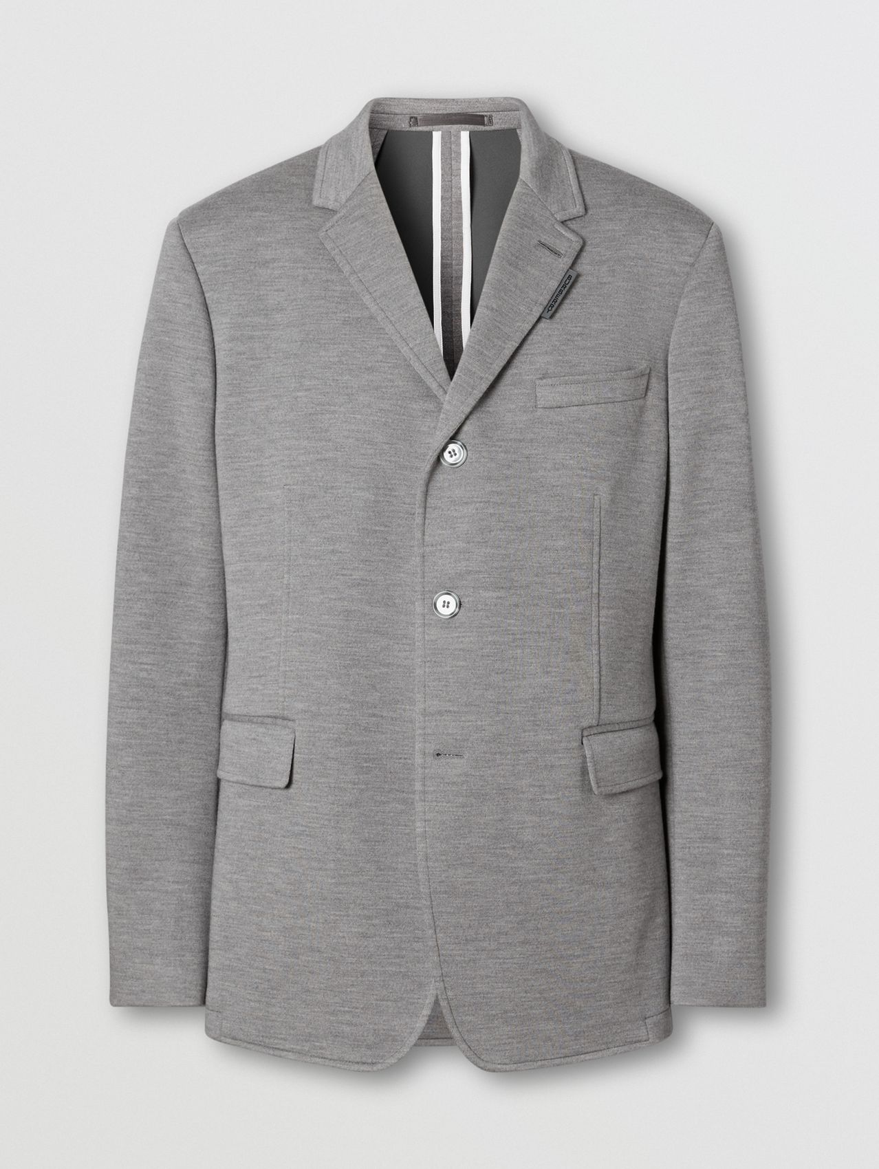 Relaxed Fit Wool Jersey Tailored Jacket in Cloud Grey
