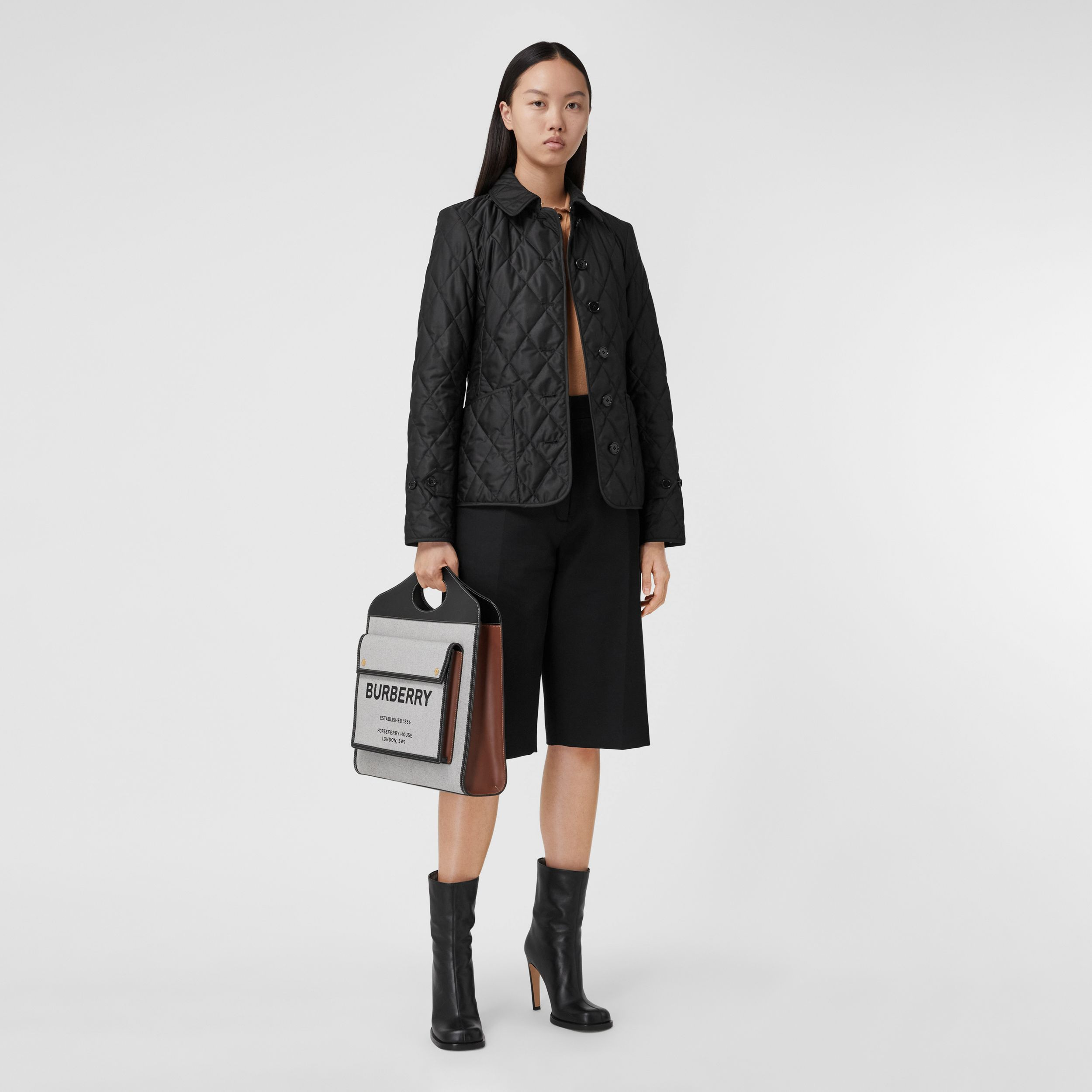Diamond Quilted Thermoregulated Jacket in Black - Women | Burberry - 1