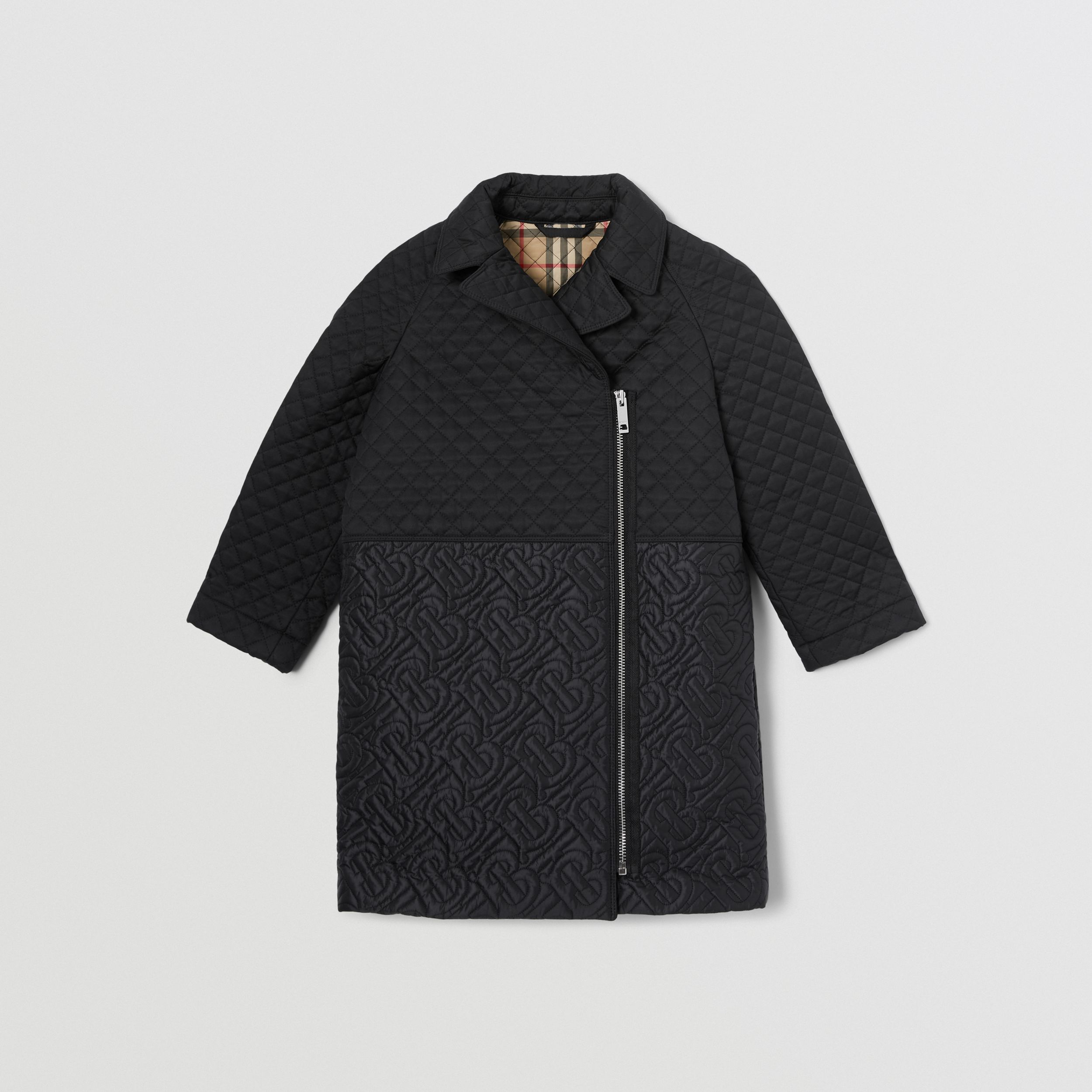Monogram Quilted Recycled Polyester Coat in Black | Burberry - 1