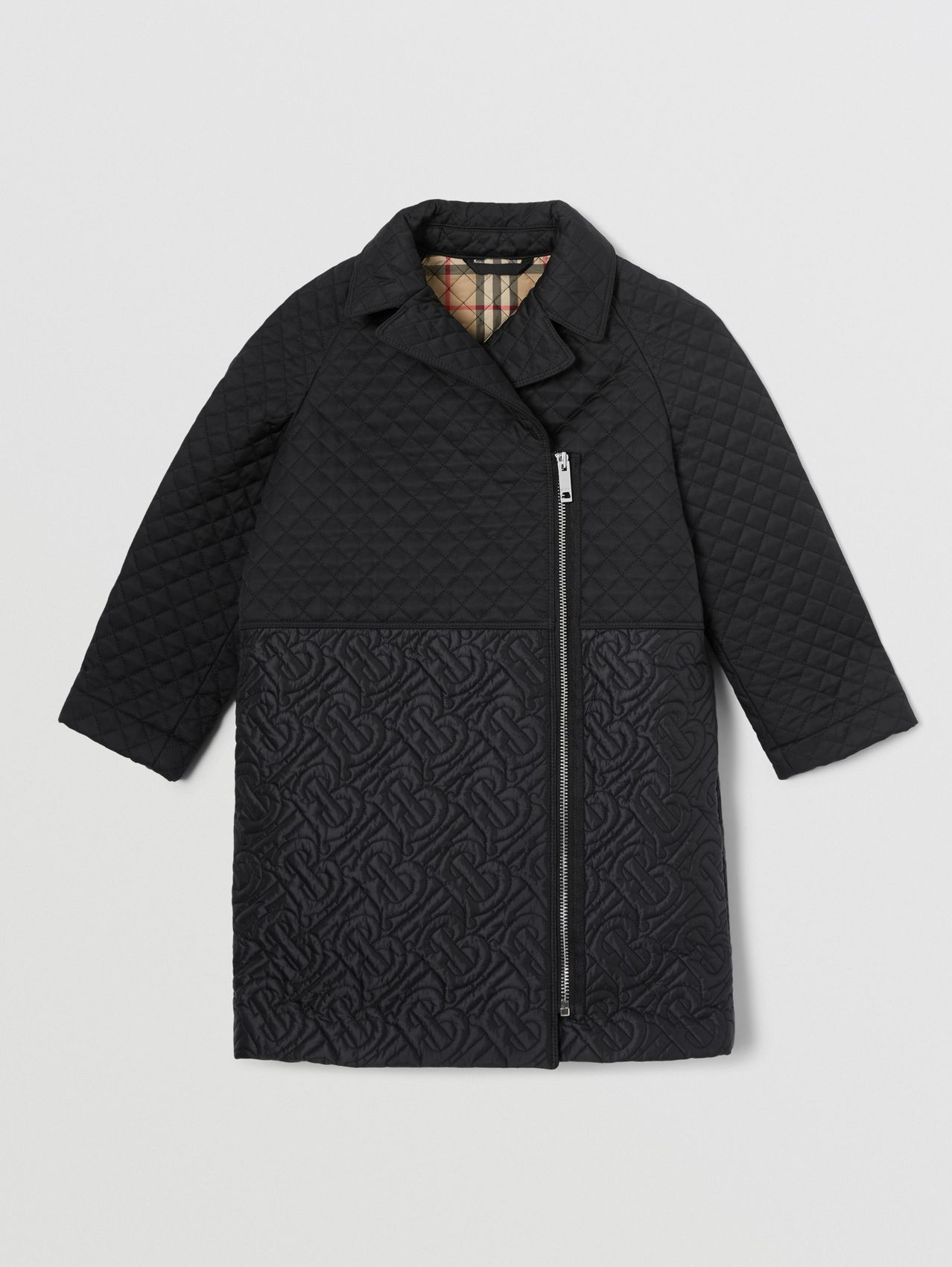 Monogram Quilted Recycled Polyester Coat in Black