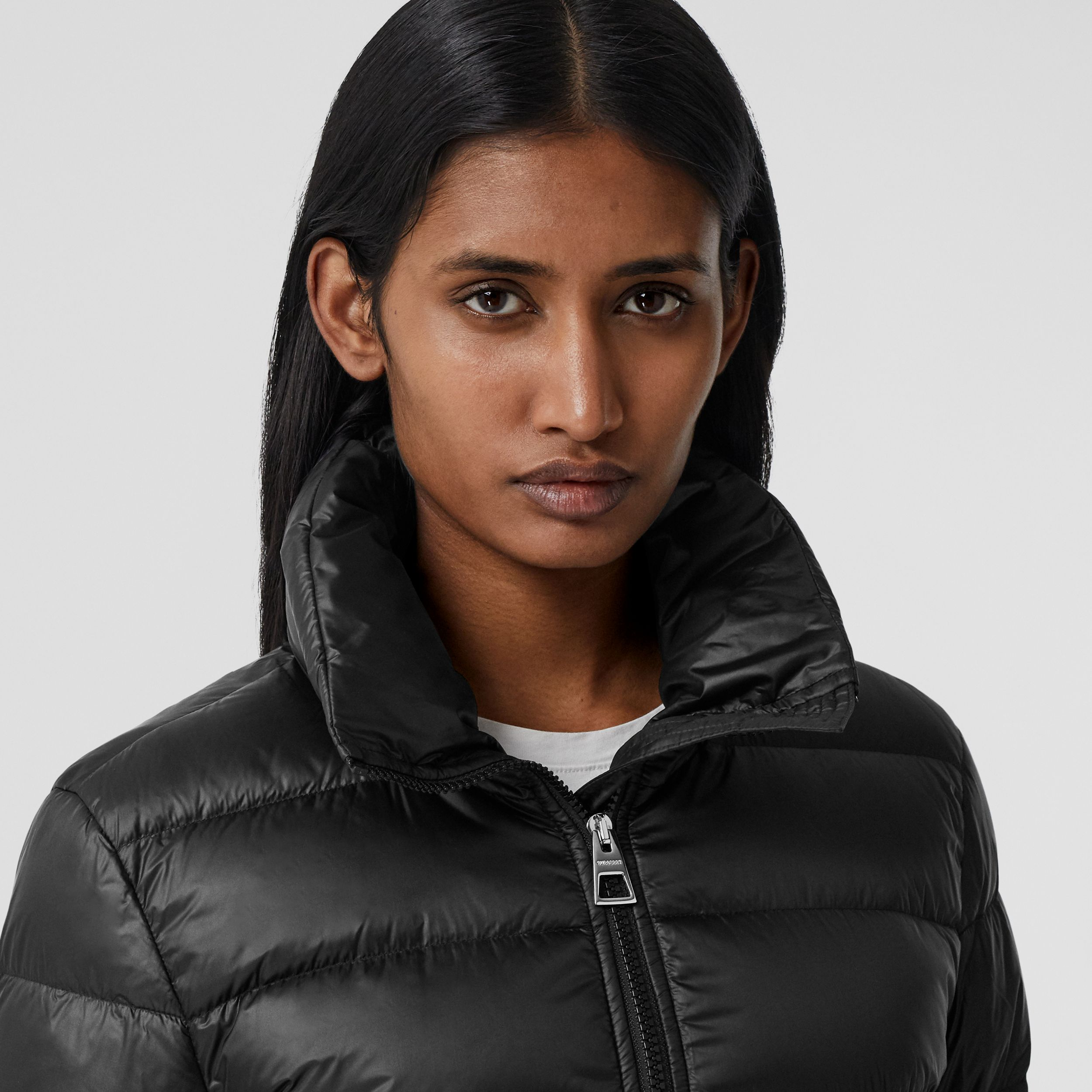 Detachable Hood Rib Knit Panel ECONYL® Puffer Coat in Black - Women | Burberry - 2