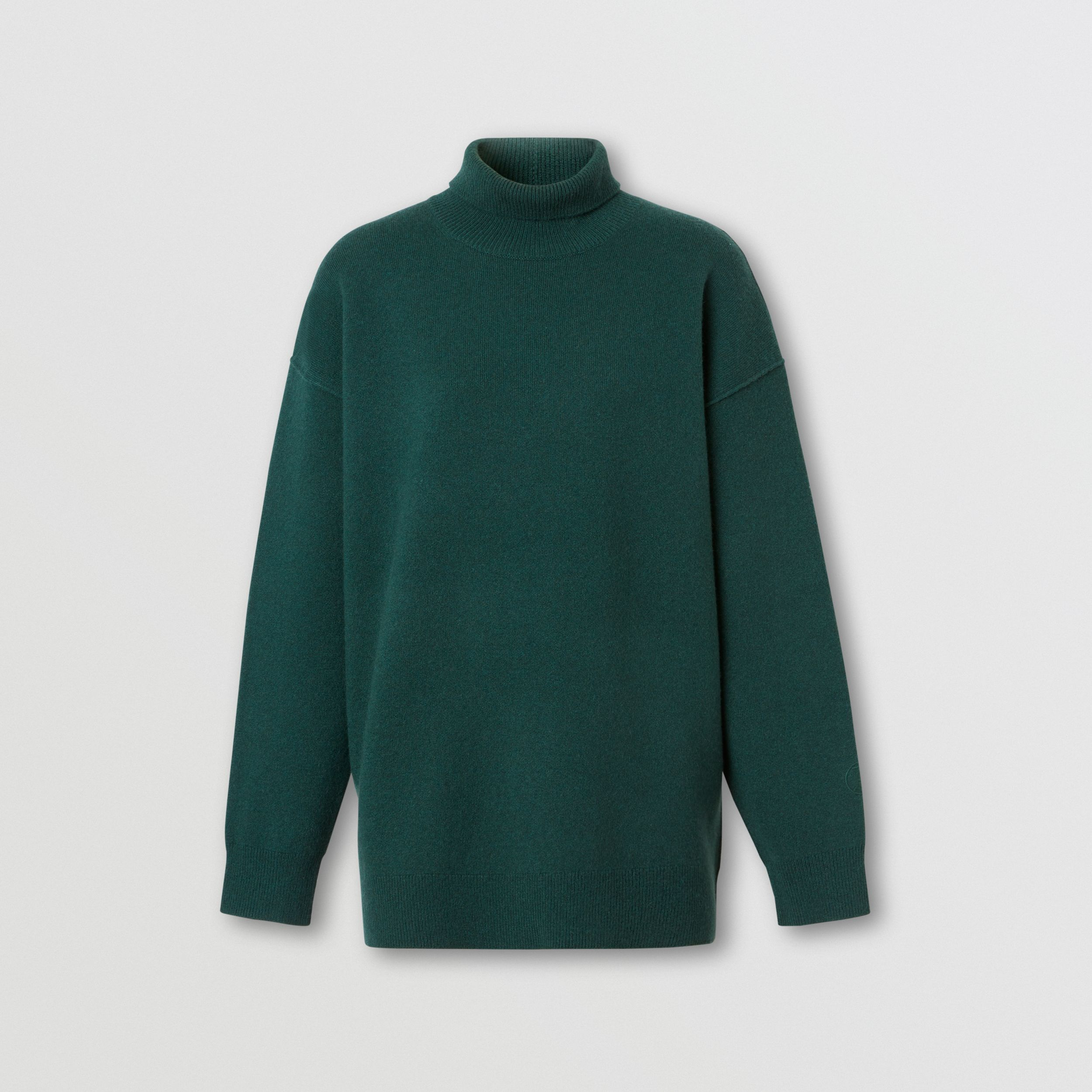 Monogram Motif Cashmere Blend Funnel Neck Sweater in Bottle Green - Women | Burberry - 4