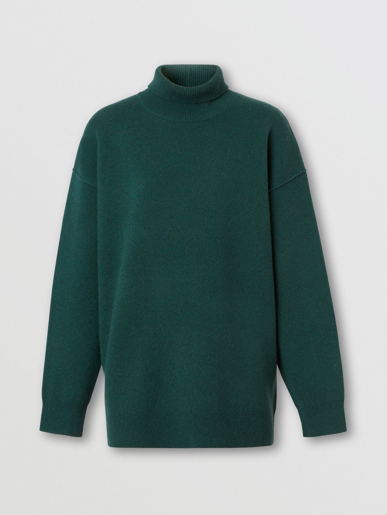 Monogram Motif Cashmere Blend Funnel Neck Sweater in Bottle Green
