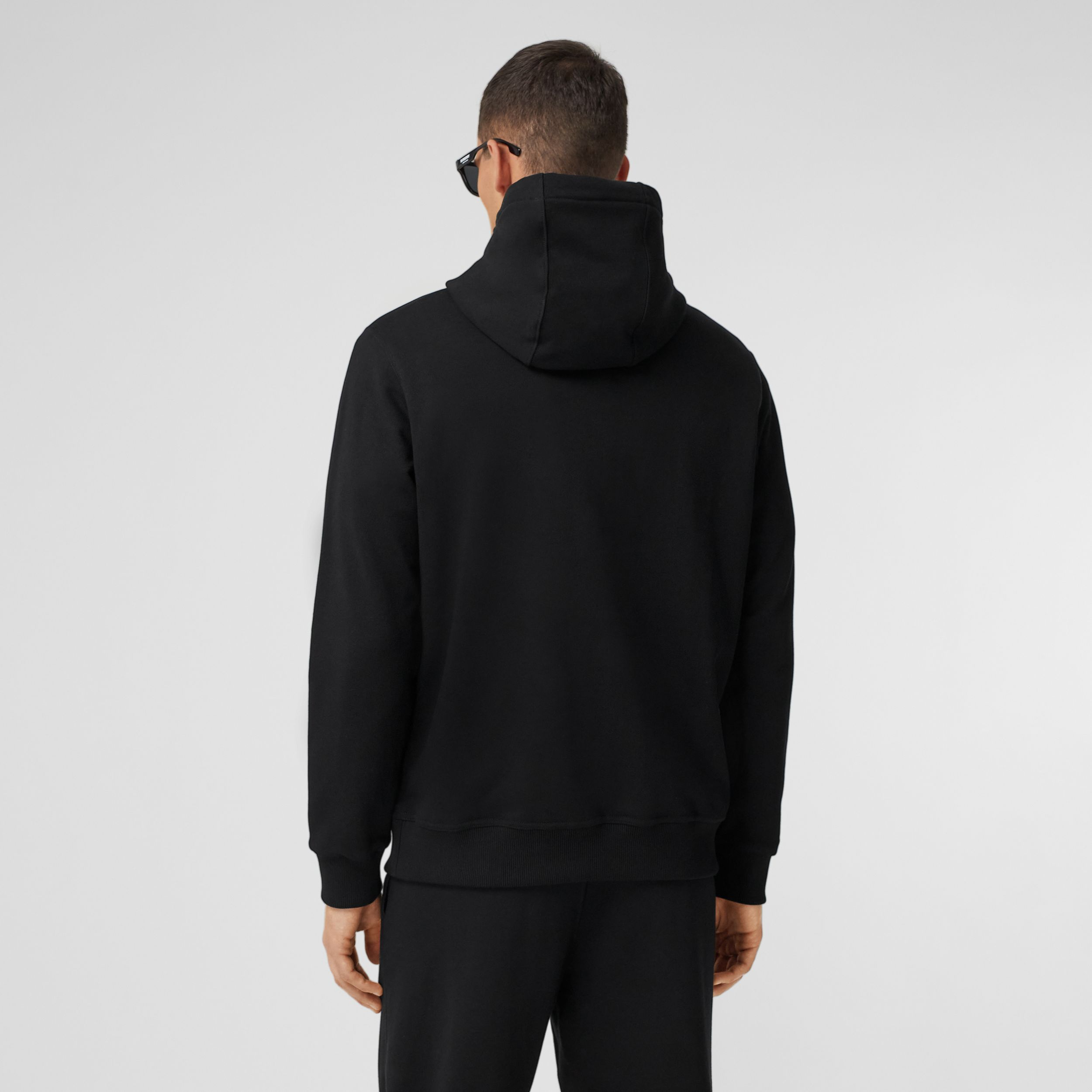 Shark Graphic Cotton Hoodie in Black - Men | Burberry Singapore - 3