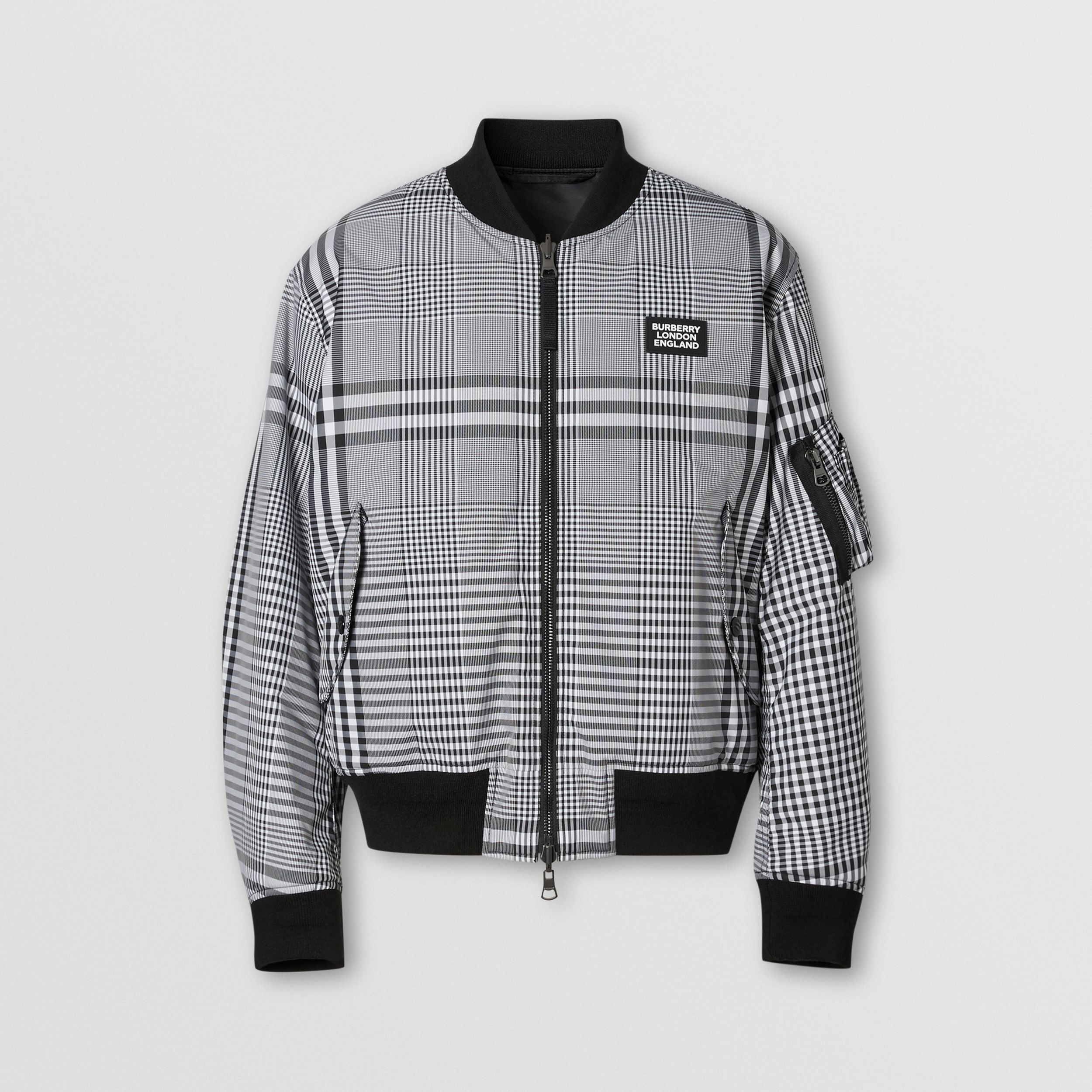 Reversible Check Bomber Jacket in Black/white - Men | Burberry - 4