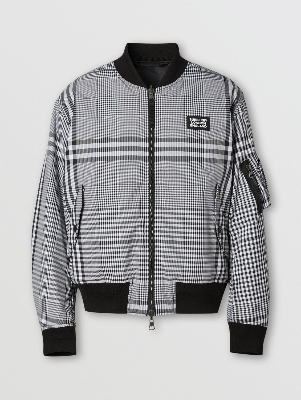 Reversible Check Bomber Jacket in Black/white