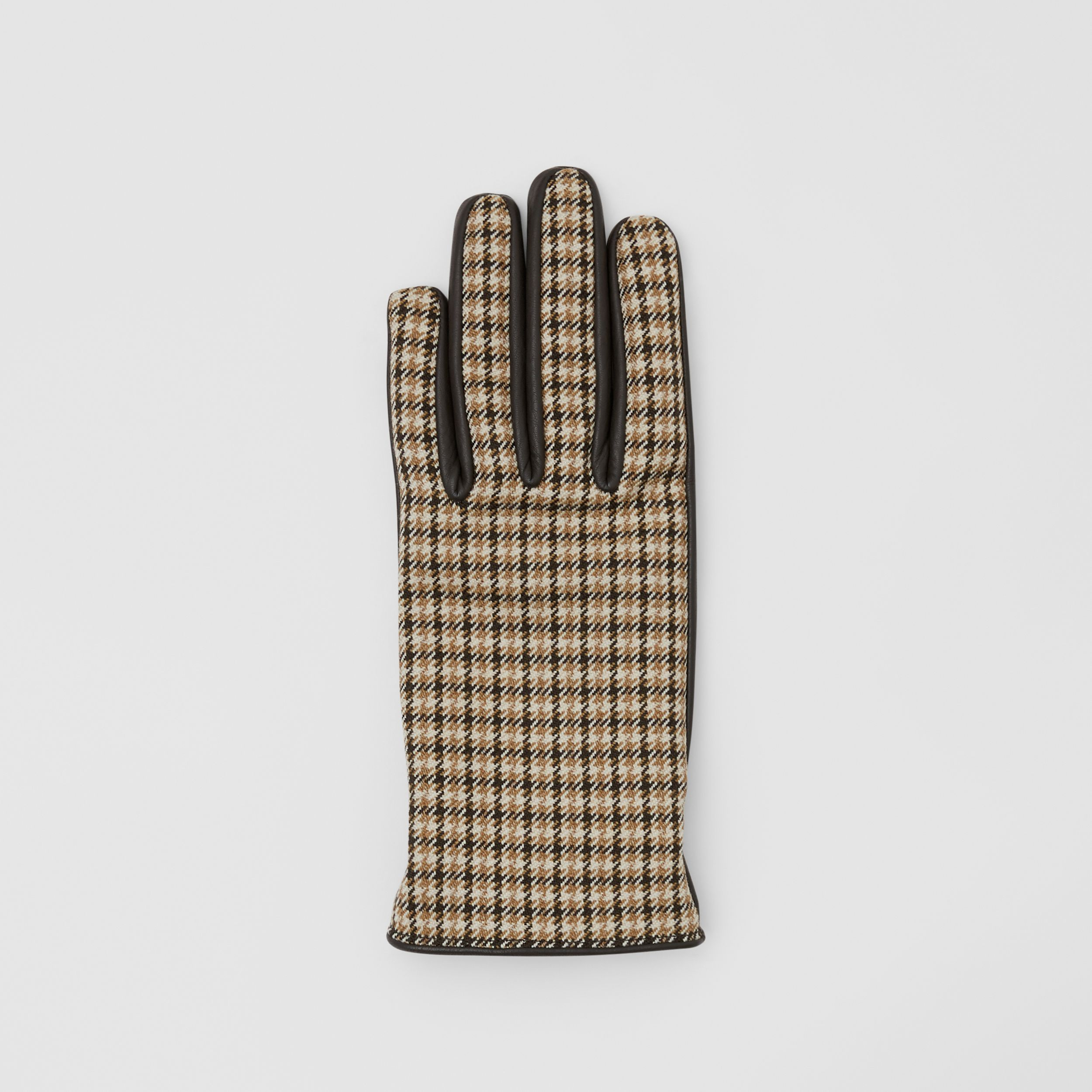 Cashmere-lined Lambskin and Check Wool Gloves in Brown | Burberry - 4