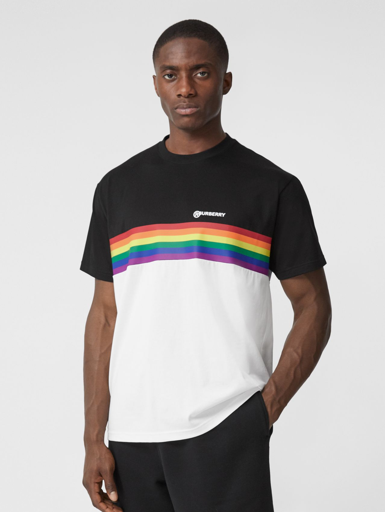 Rainbow Stripe Print Cotton T-shirt – Unisex (Black)