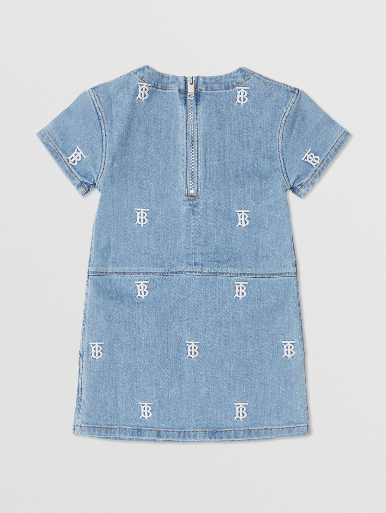 Monogram Motif Stretch Denim Shift Dress in Pale Blue