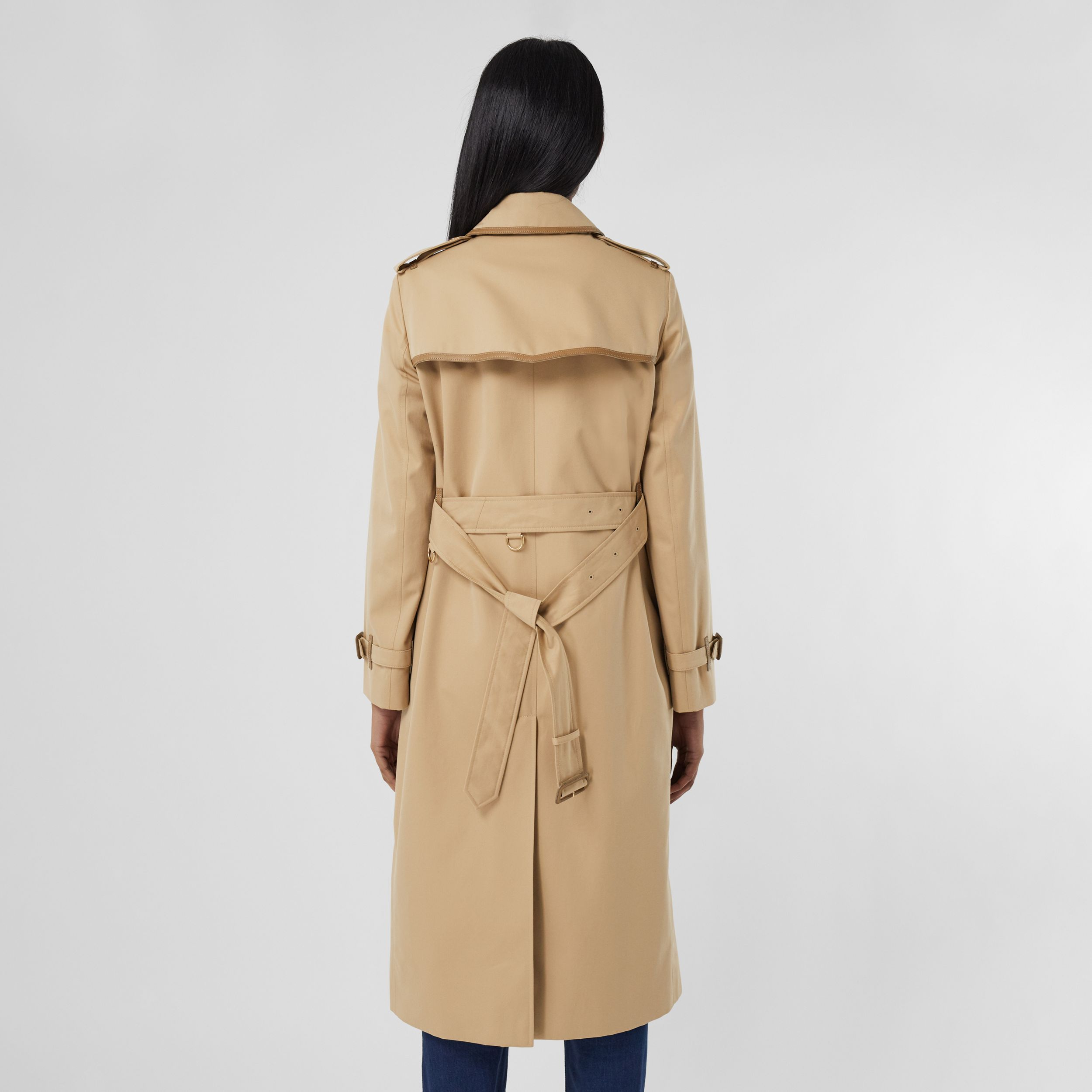 Leather Trim Cotton Gabardine Trench Coat in Honey - Women | Burberry United States - 3