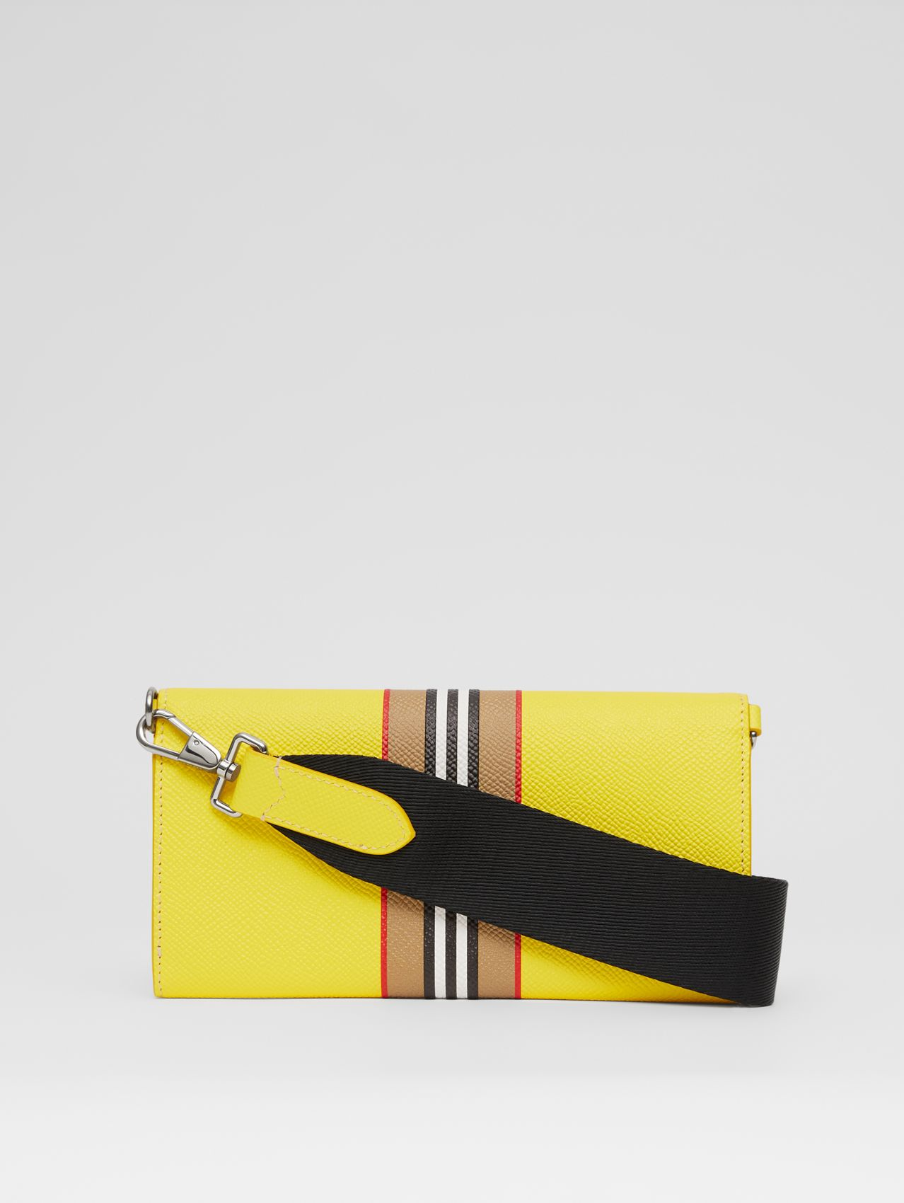 Logo Print Leather Wallet with Detachable Strap in Marigold Yellow