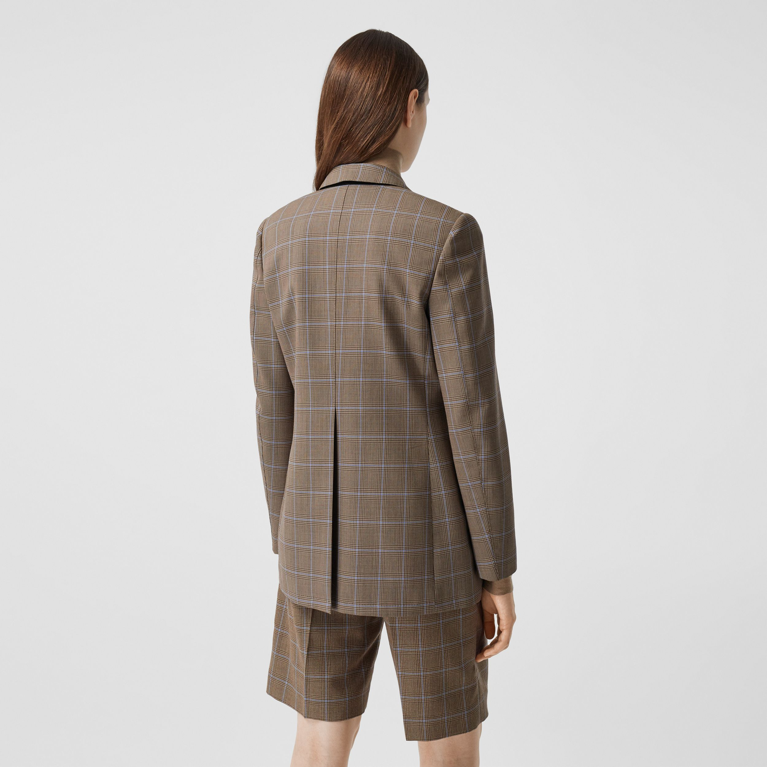 Prince of Wales Check Wool Tailored Jacket in Birch Brown - Women | Burberry - 3