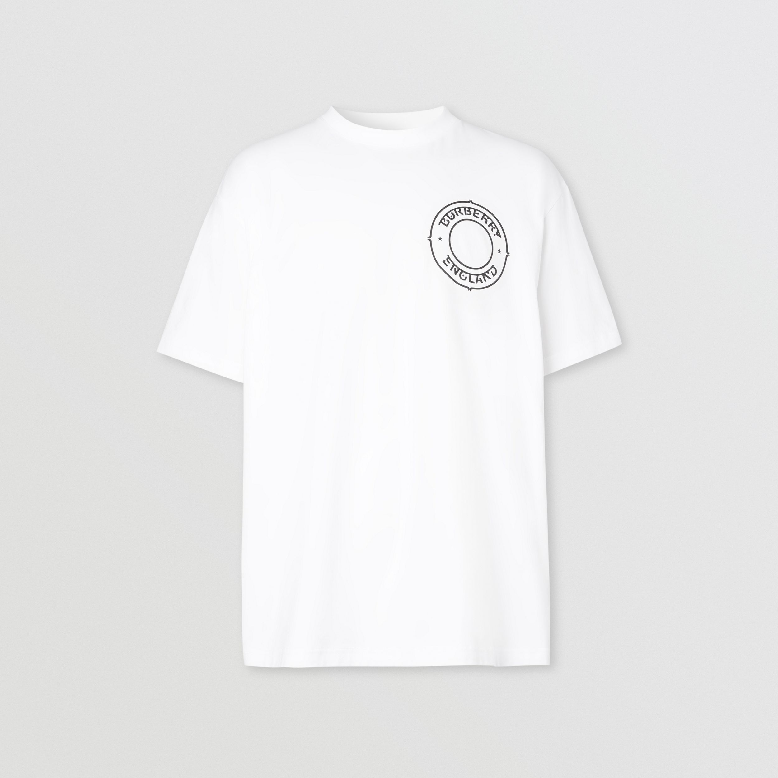 Logo Graphic Cotton Oversized T-shirt in White - Men | Burberry - 4