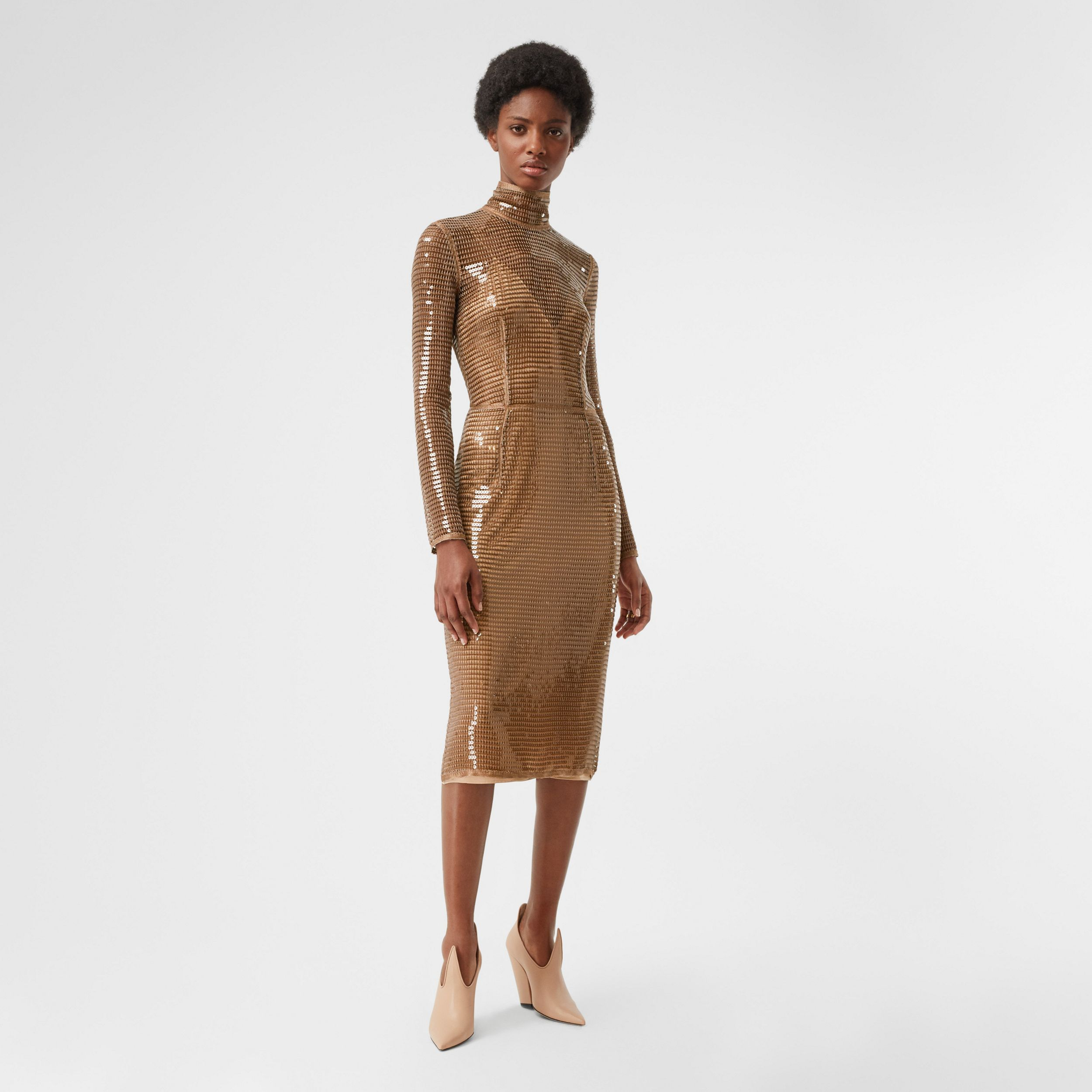 Sequinned Mesh and Silk Turtleneck Dress in Bronze - Women | Burberry - 1