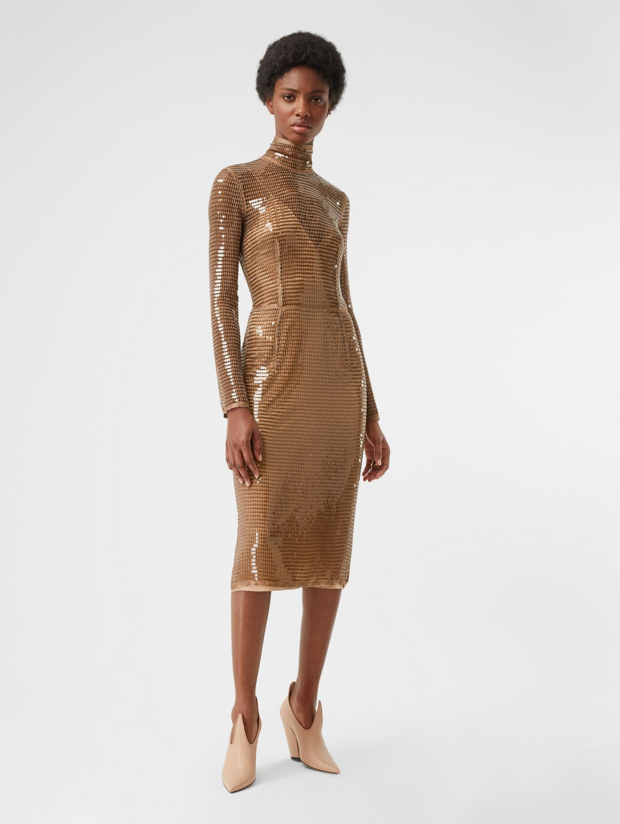 Sequinned Mesh and Silk Turtleneck Dress in Bronze