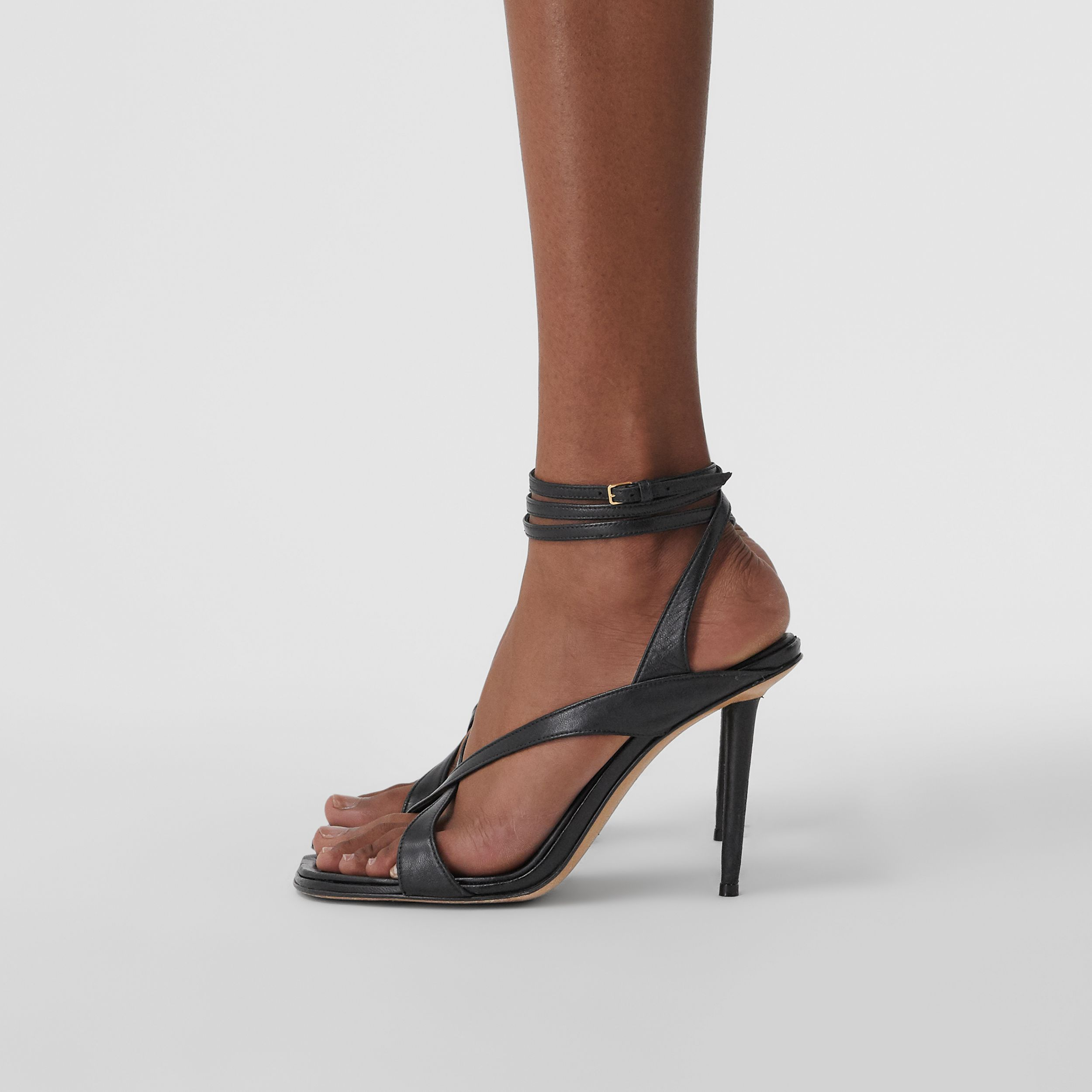 Lambskin Wraparound Stiletto-heel Sandals in Black - Women | Burberry - 2
