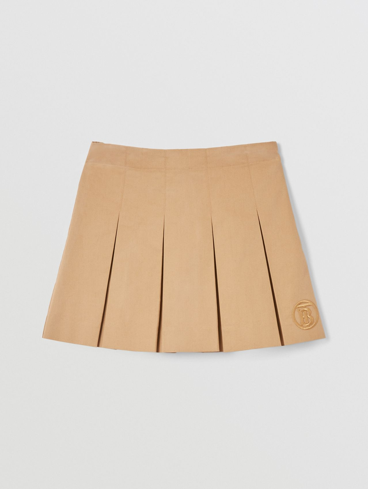 Monogram Motif Cotton Twill Pleated Skirt in Archive Beige