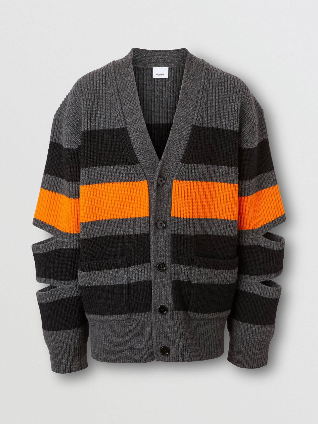 Cut-out Detail Striped Wool Cashmere Cardigan in Charcoal
