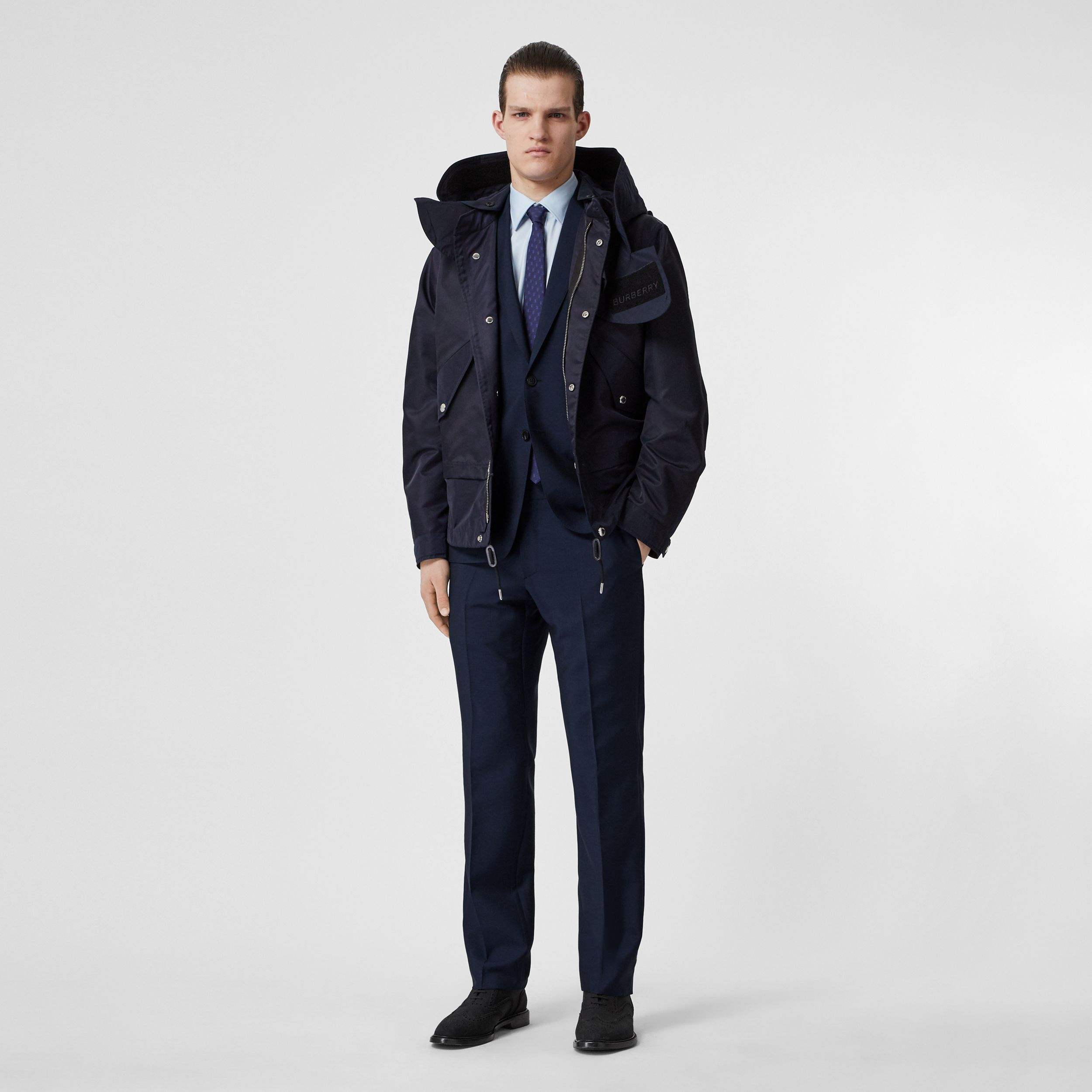 Slim Fit Wool Mohair Suit in Navy - Men | Burberry - 1