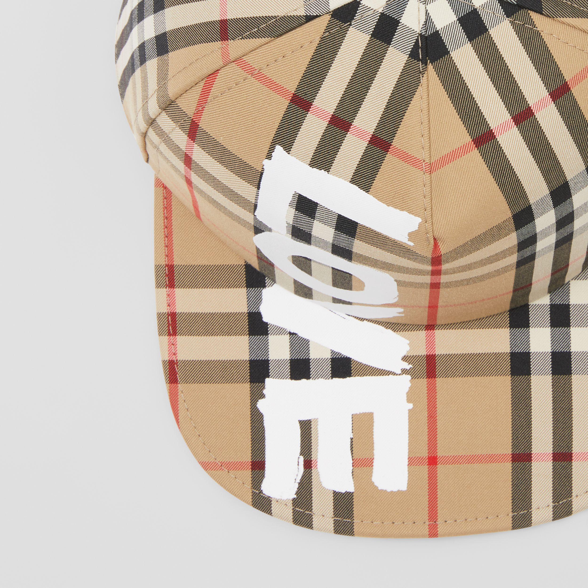 Love Print Vintage Check Baseball Cap in Archive Beige | Burberry - 2