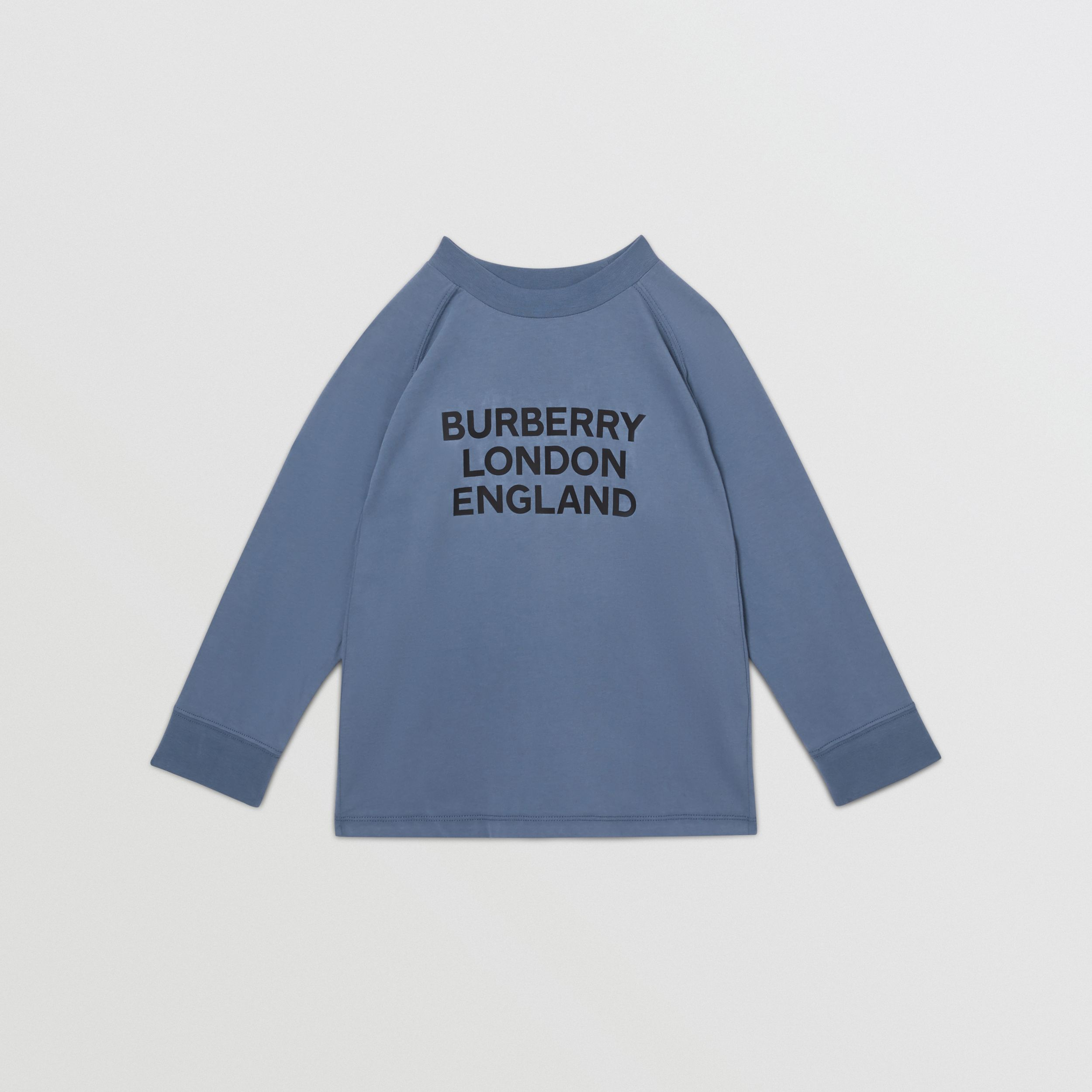Long-sleeve Logo Print Cotton Top in Steel Blue | Burberry - 1